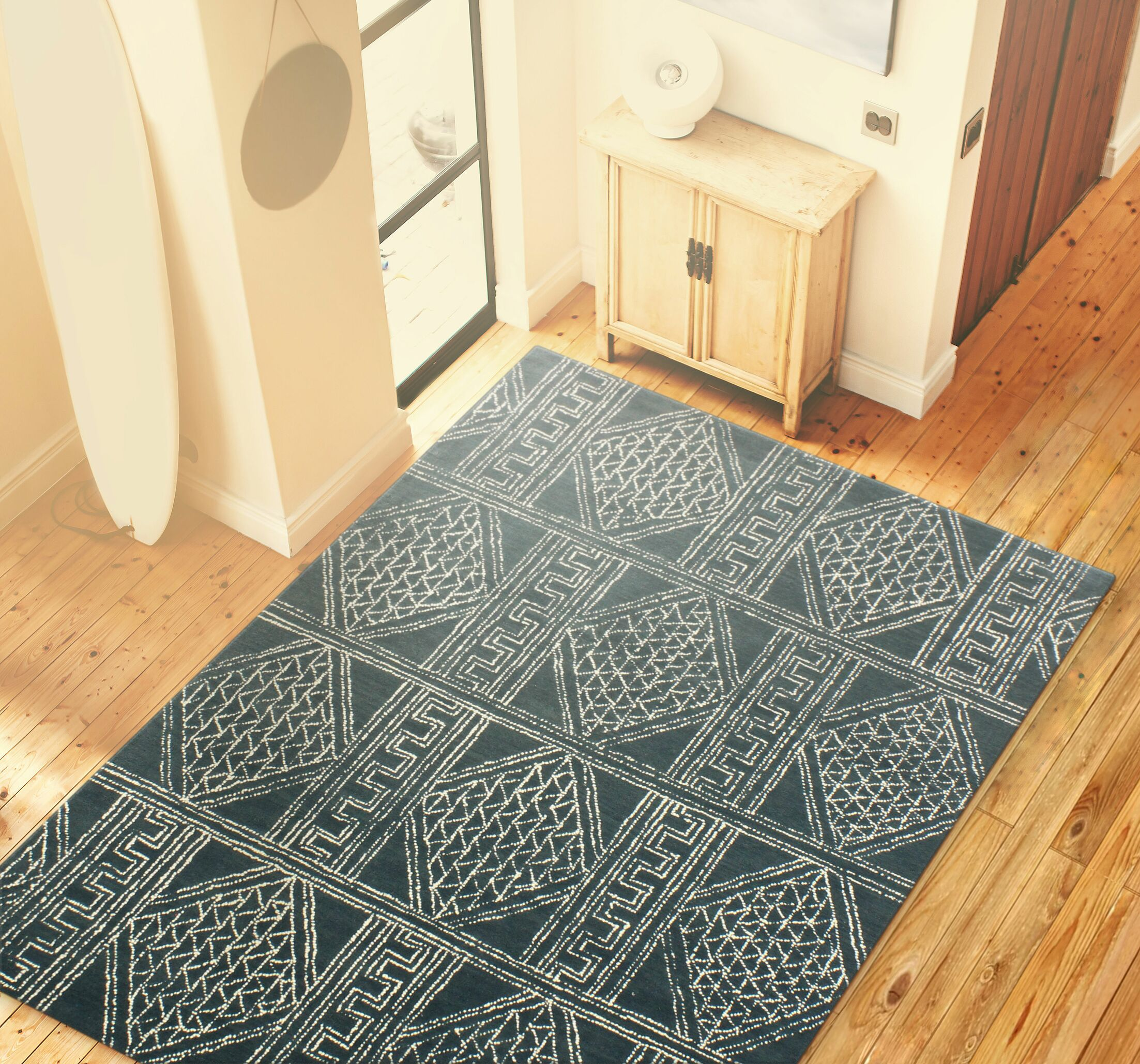 Kory Hand Tufted 100% Wool Blue Area Rug Rug Size: 3'6