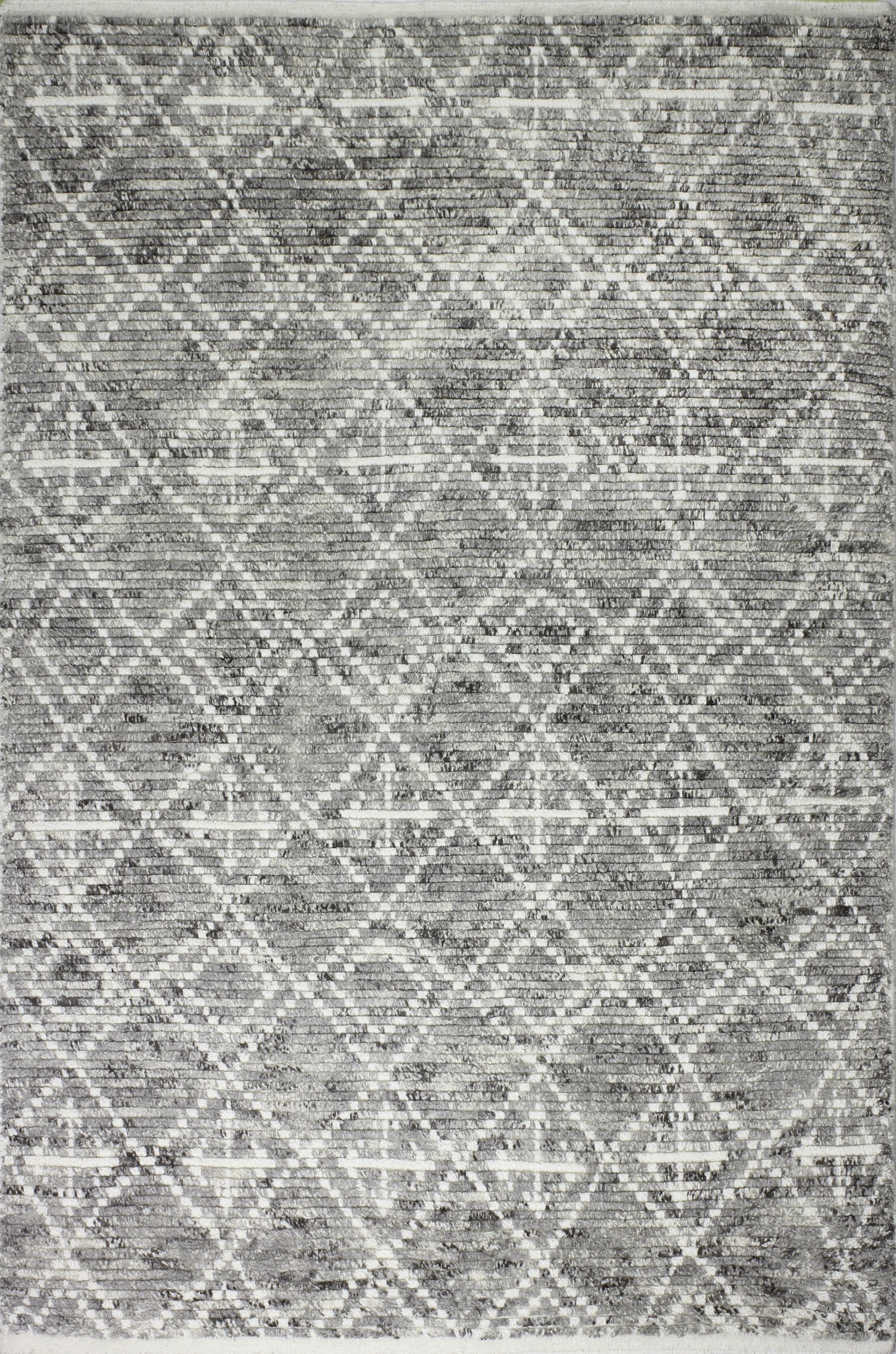 Daryl Hand-Knotted Wool Gray Area Rug Rug Size: Rectangle 7'6