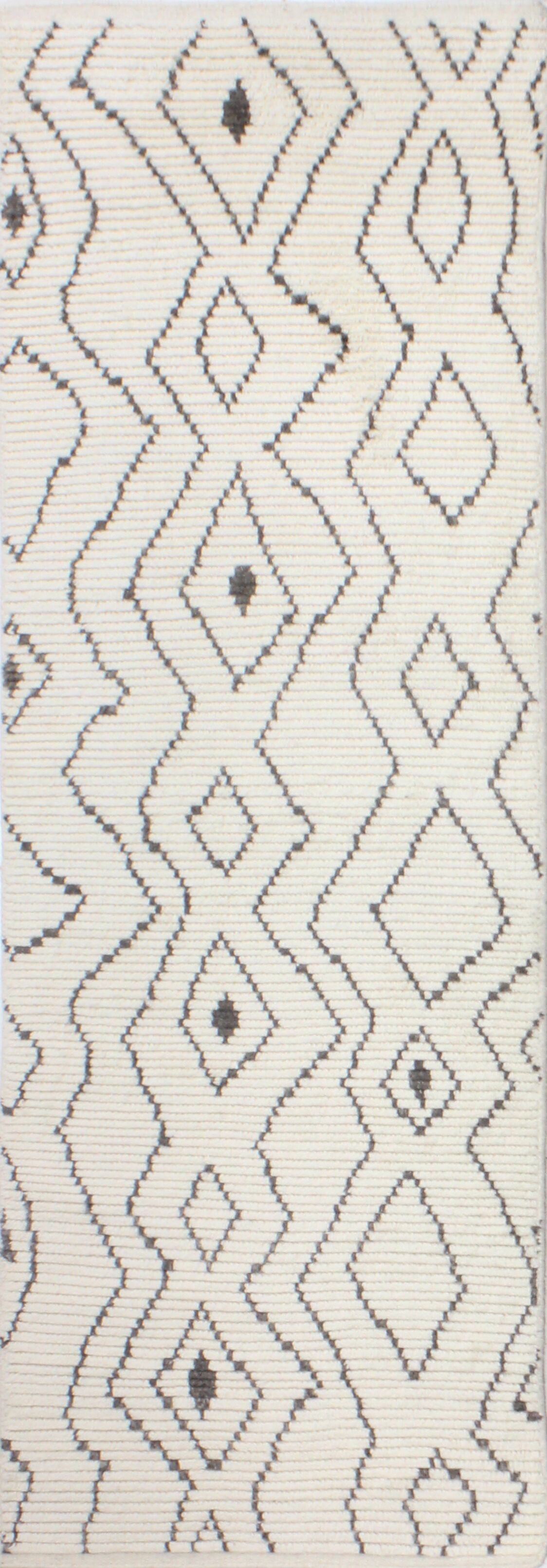 Daryl Hand-Knotted Wool Ivory Area Rug Rug Size: Runner 2'6