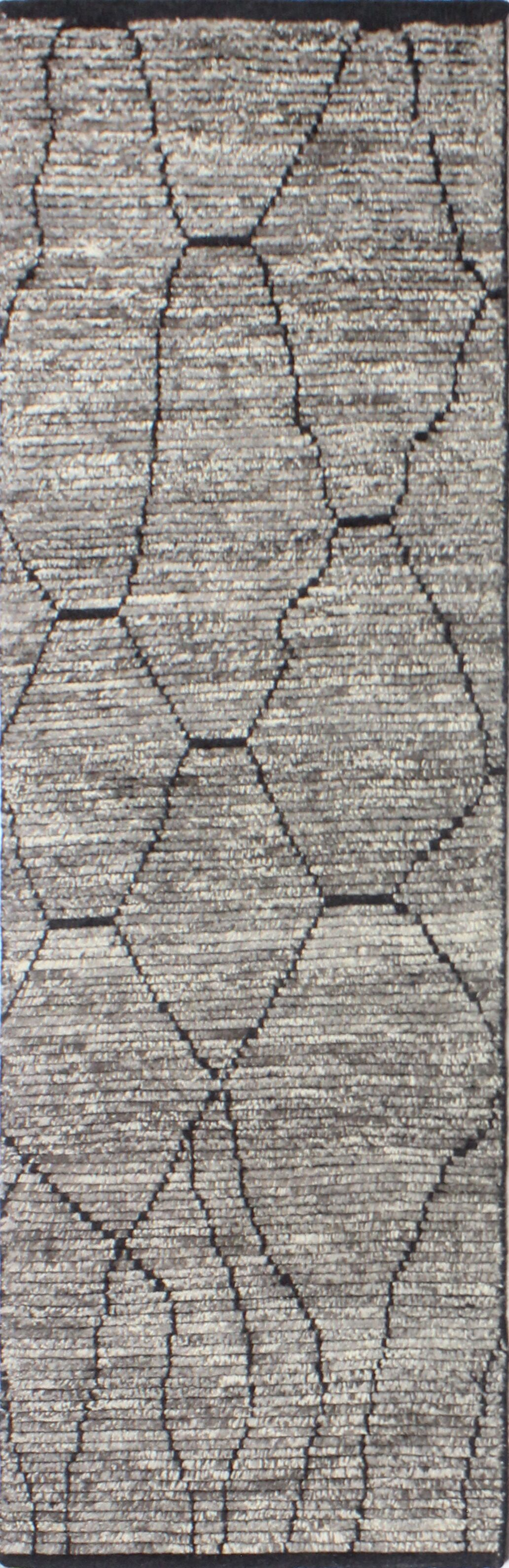 Daryl Hand-Knotted Wool Gray Area Rug Rug Size: Runner 2'6