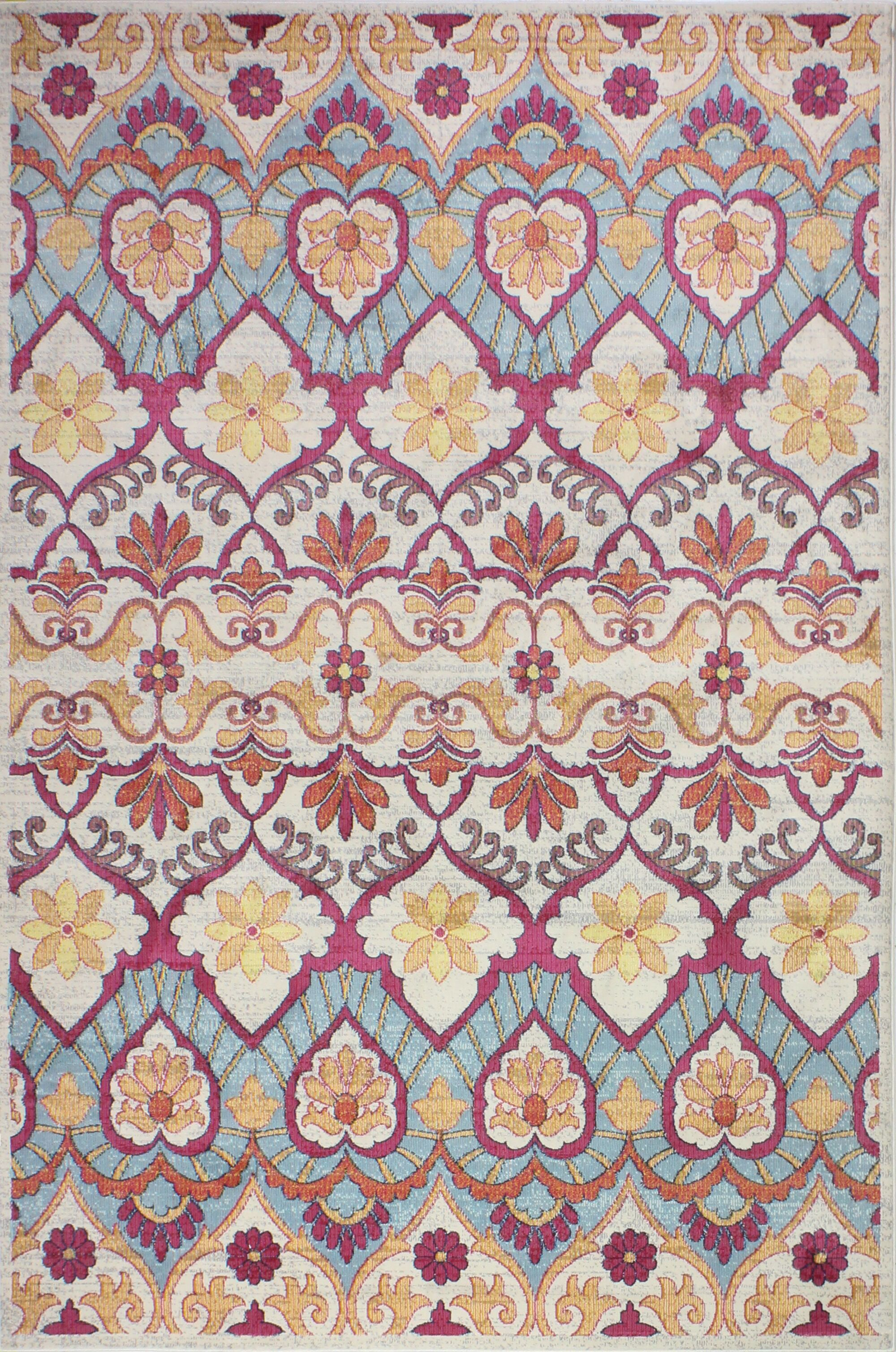 Goldie Traditional Ivory Area Rug Rug Size: Rectangle 5' x 7'6