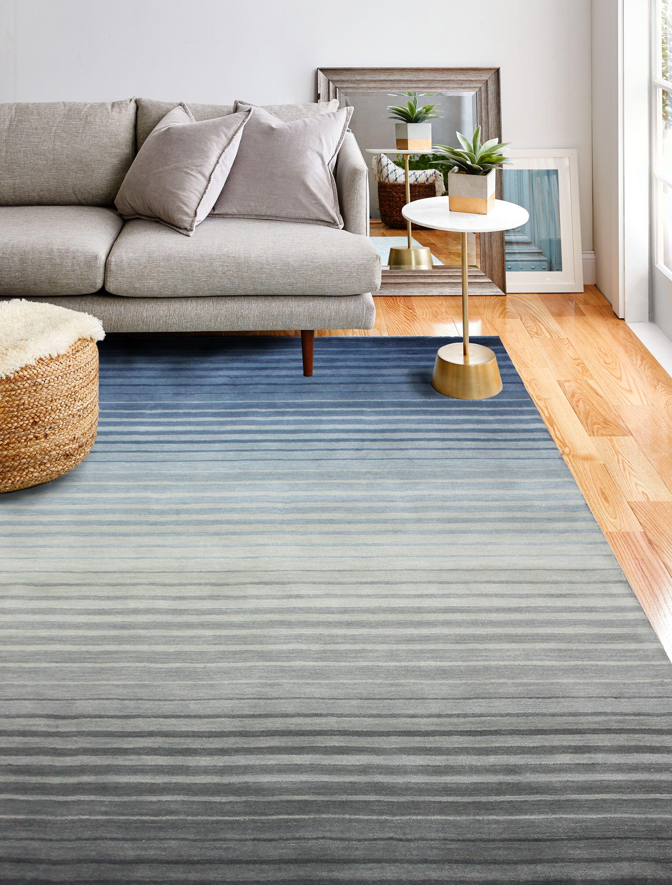 Napoleon Handmade Wool Gray/Blue Area Rug Rug Size: Rectangle 5' x 7'6