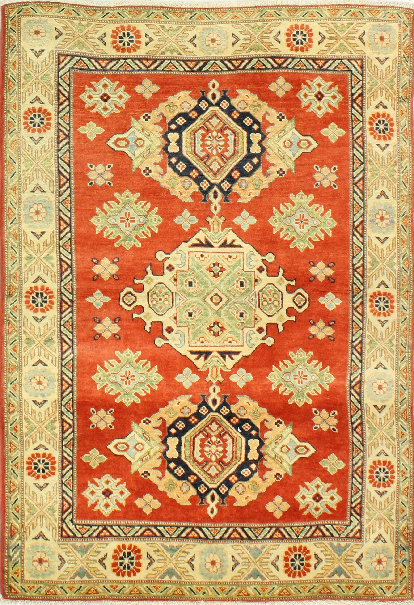 One-of-a-Kind Harton Hand Woven Wool Red/Beige Area Rug