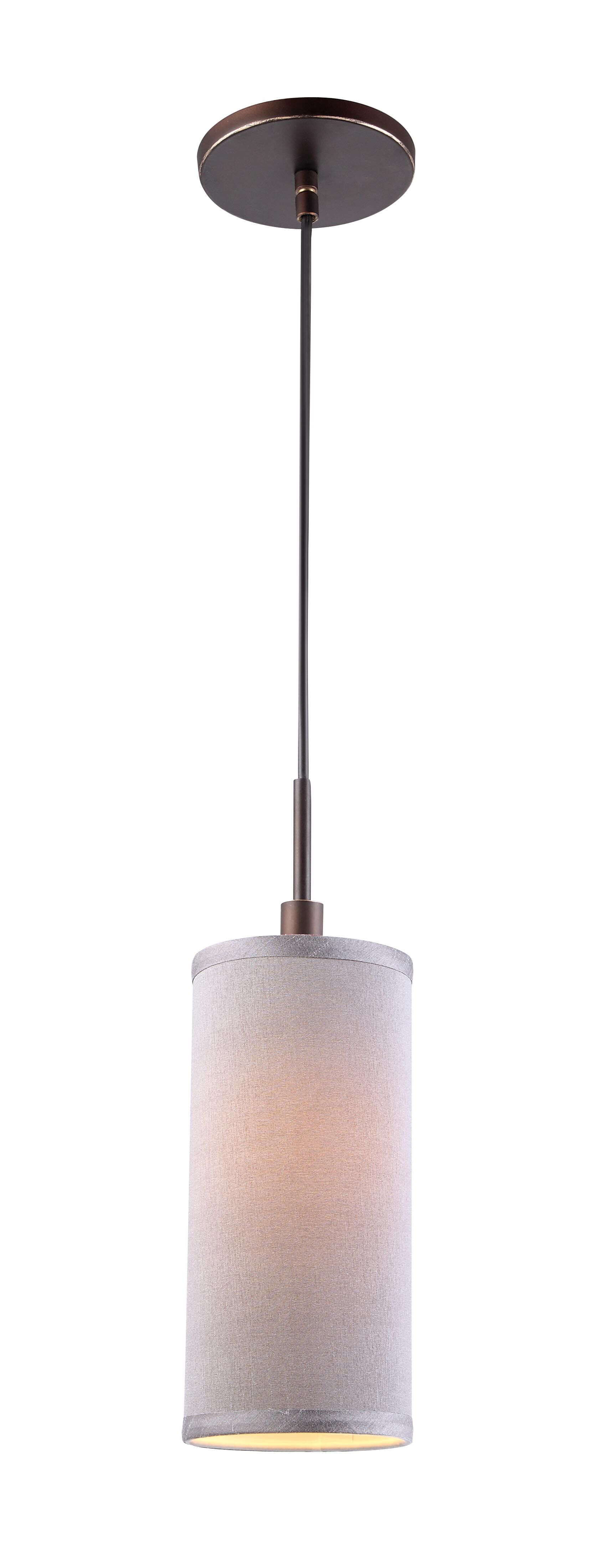 1-Light Cylinder Pendant Shade Color: Grey, Finish: Bronze