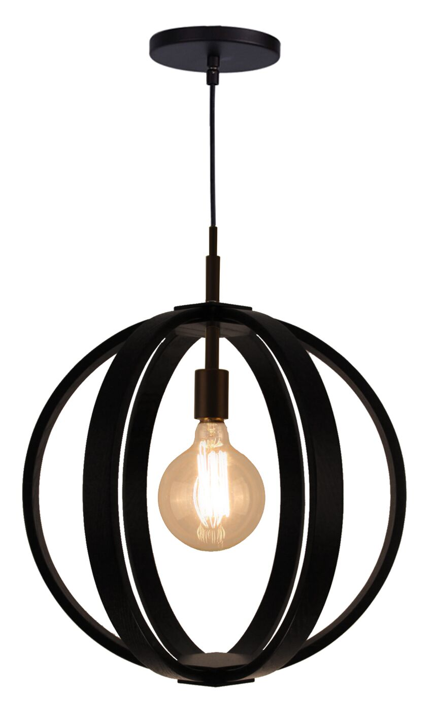 Celestial 1-Light Globe Pendant Shade Color: Wenge, Finish: Bronze