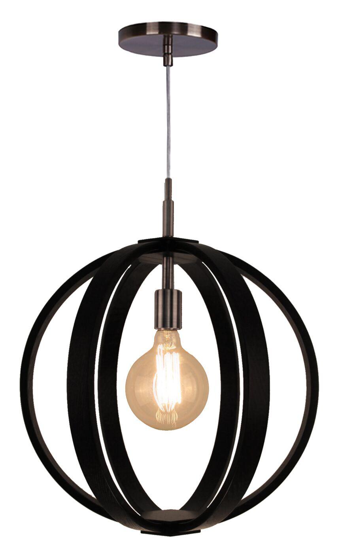 Celestial 1-Light Globe Pendant Shade Color: Wenge, Finish: Brushed Bronze