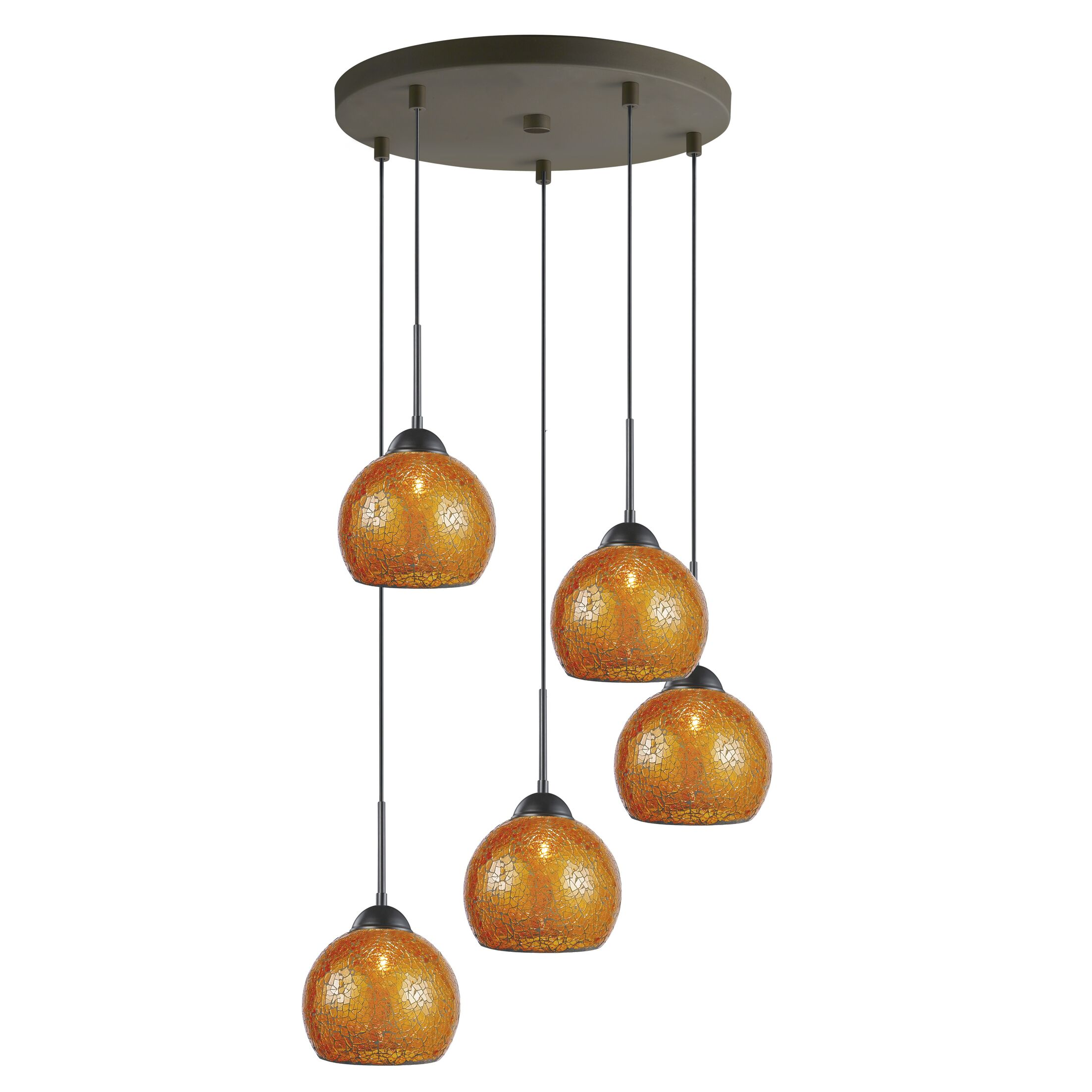 5-Light Mini Pendant Cluster Finish: Bronze, Shade Color: Amber