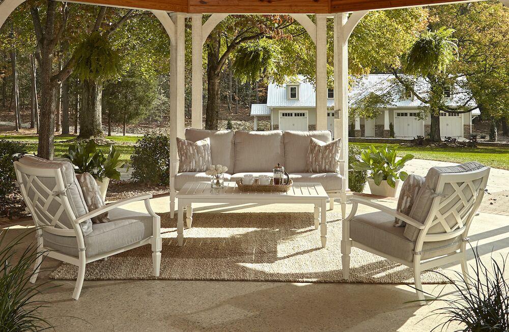 Mimosa 4 Piece Sunbrella Sofa Set with Cushions Accent Pillow Fabric: Marin Desert, Fabric: Sahara Gravel