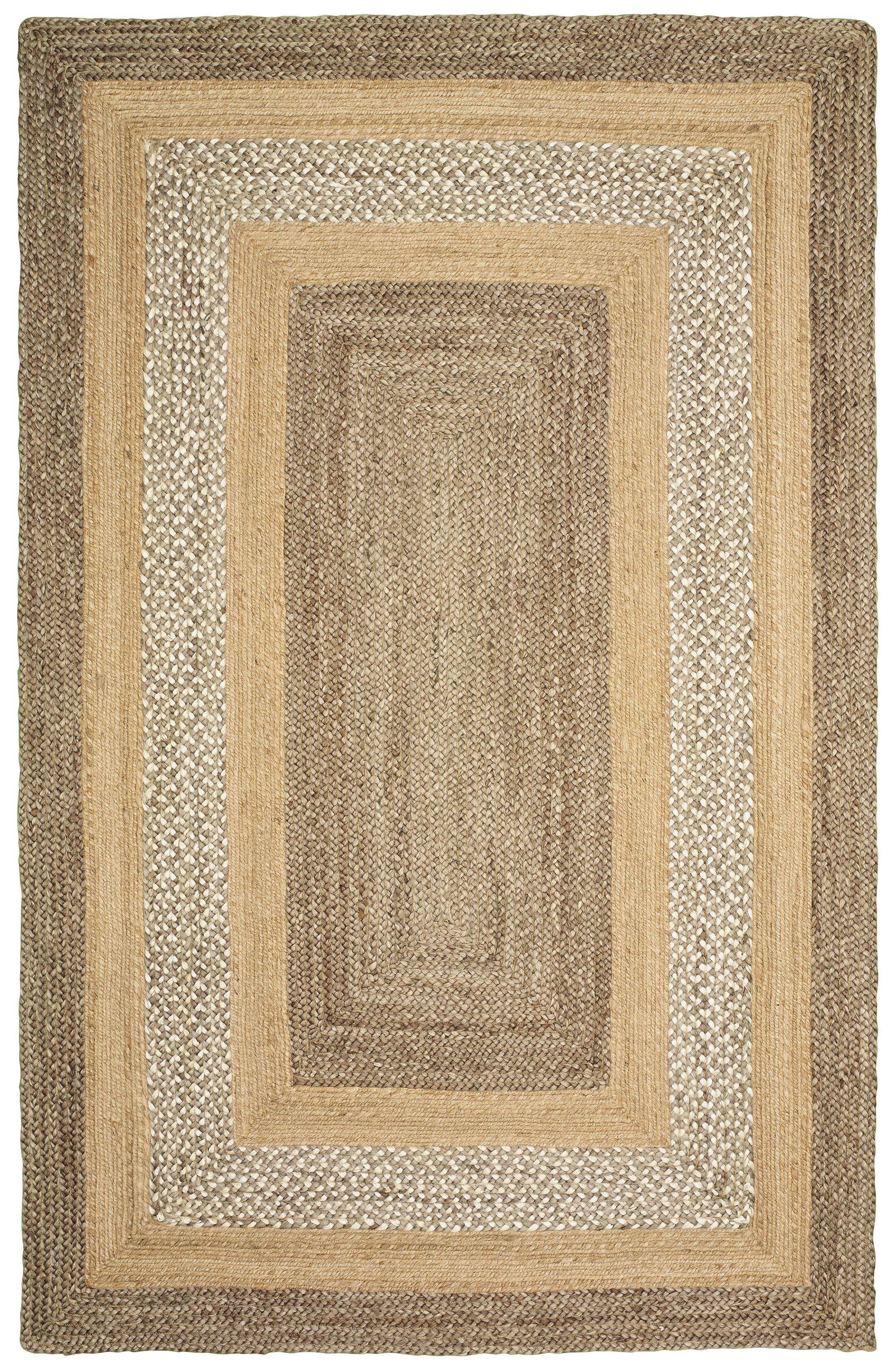 Lechez Hand-Woven Gray/Beige Area Rug Rug Size: 5' x 7'9