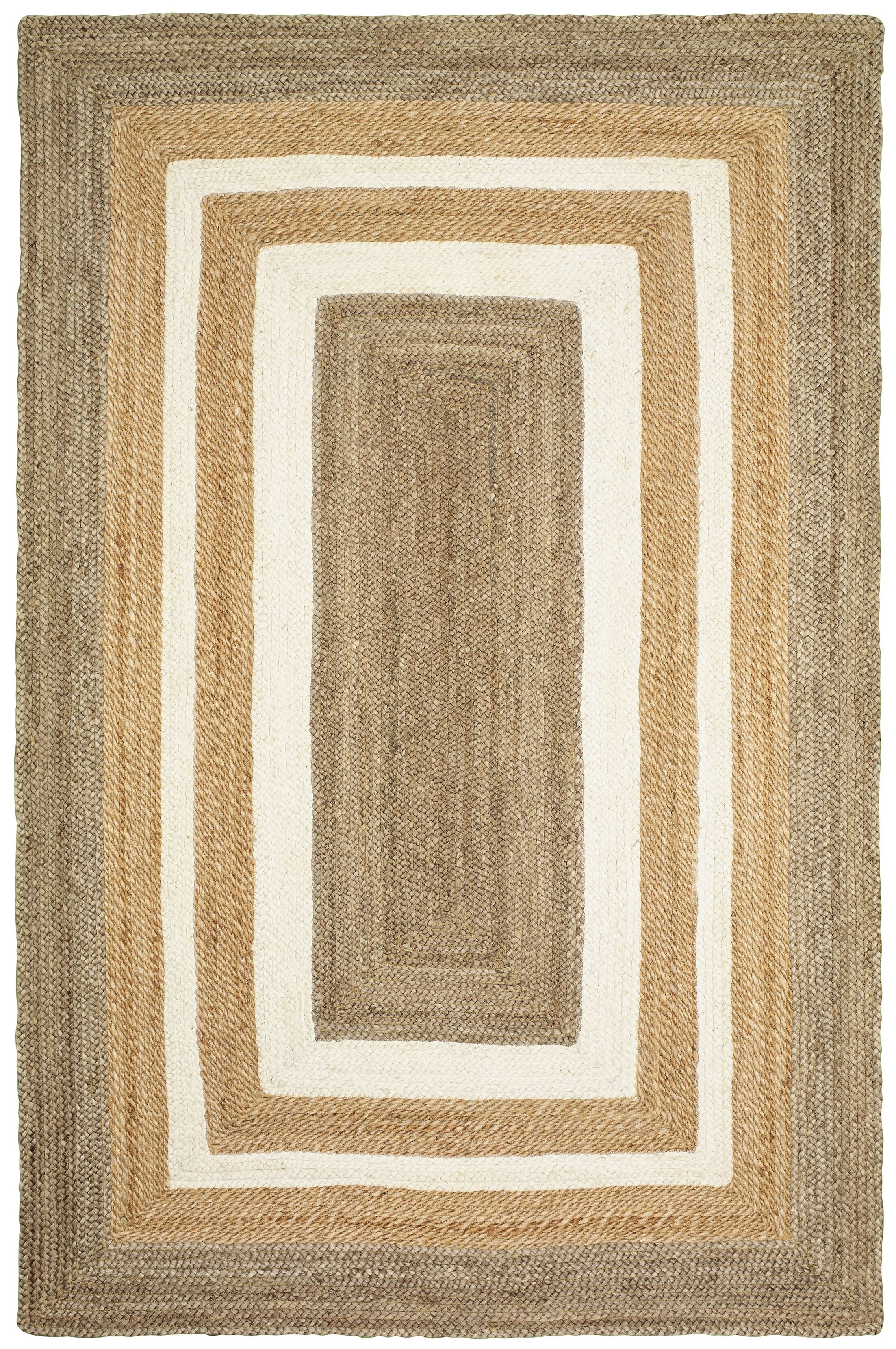 Lechez Jute Hand-Woven Gray/Beige Area Rug Rug Size: 3'6