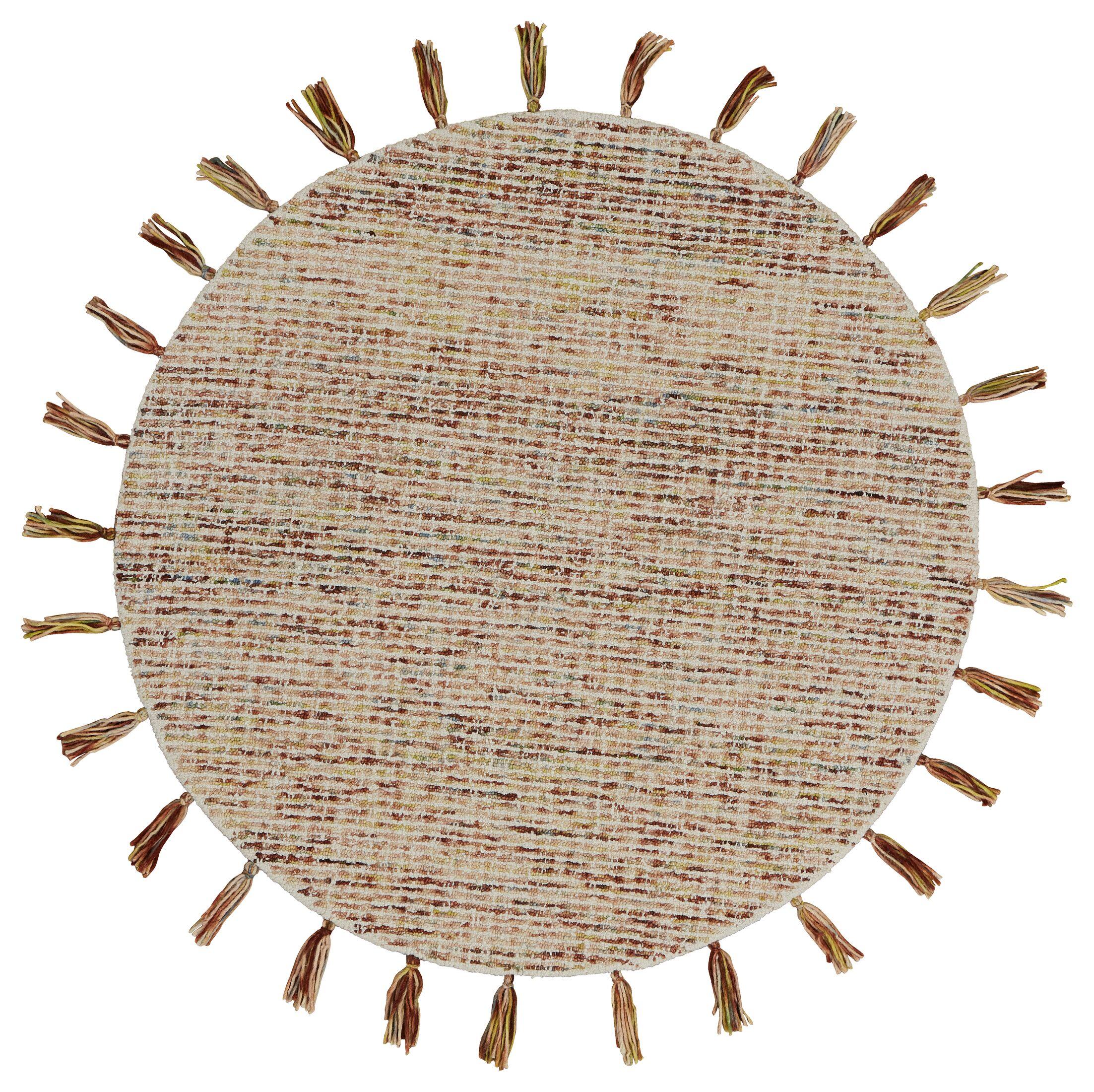 Arinna Criss-Crossed Autumn Rust Area Rug Rug Size: Round 6'