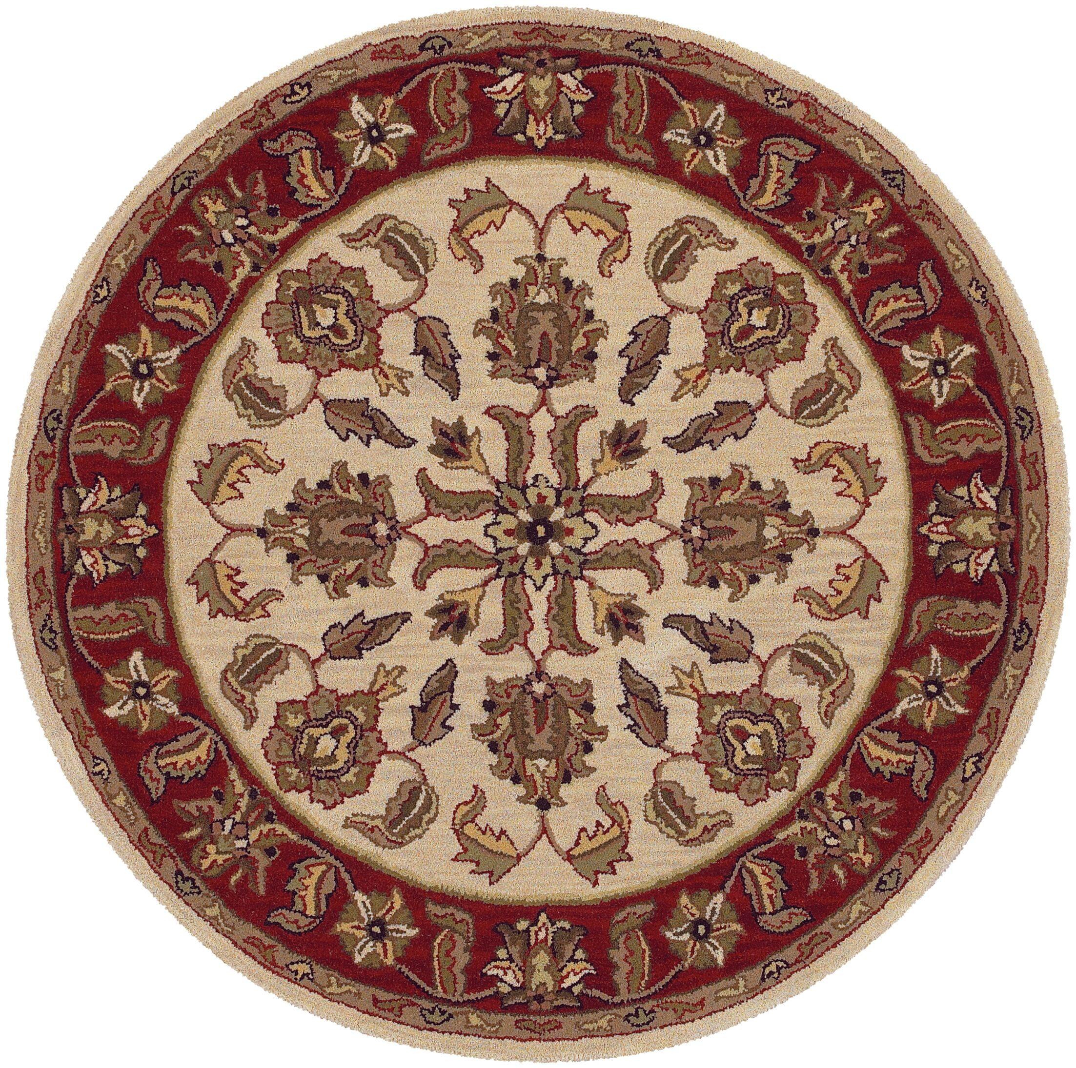 Shapes Ivory/Red Traditional Floral Rug Rug Size: Round 7'9