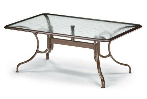Glass Tables Deluxe Rectangle Ogee Rim Aluminum Dining Table Finish: Textured Beachwood