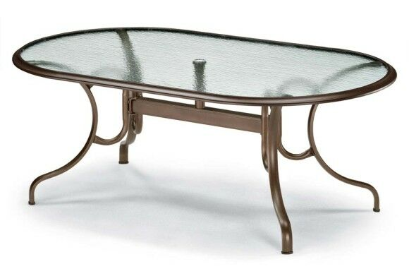 Glass Tables Deluxe Oval Ogee Rim Aluminum Dining Table Finish: Textured Black