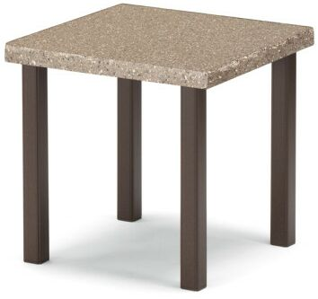 Synthestone Tables Square Aluminum SideTable Frame Finish: Textured Kona, Top Finish: Java