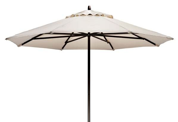 Commercial 9' Market Umbrella Fabric: Harvest, Frame Finish: Gloss White