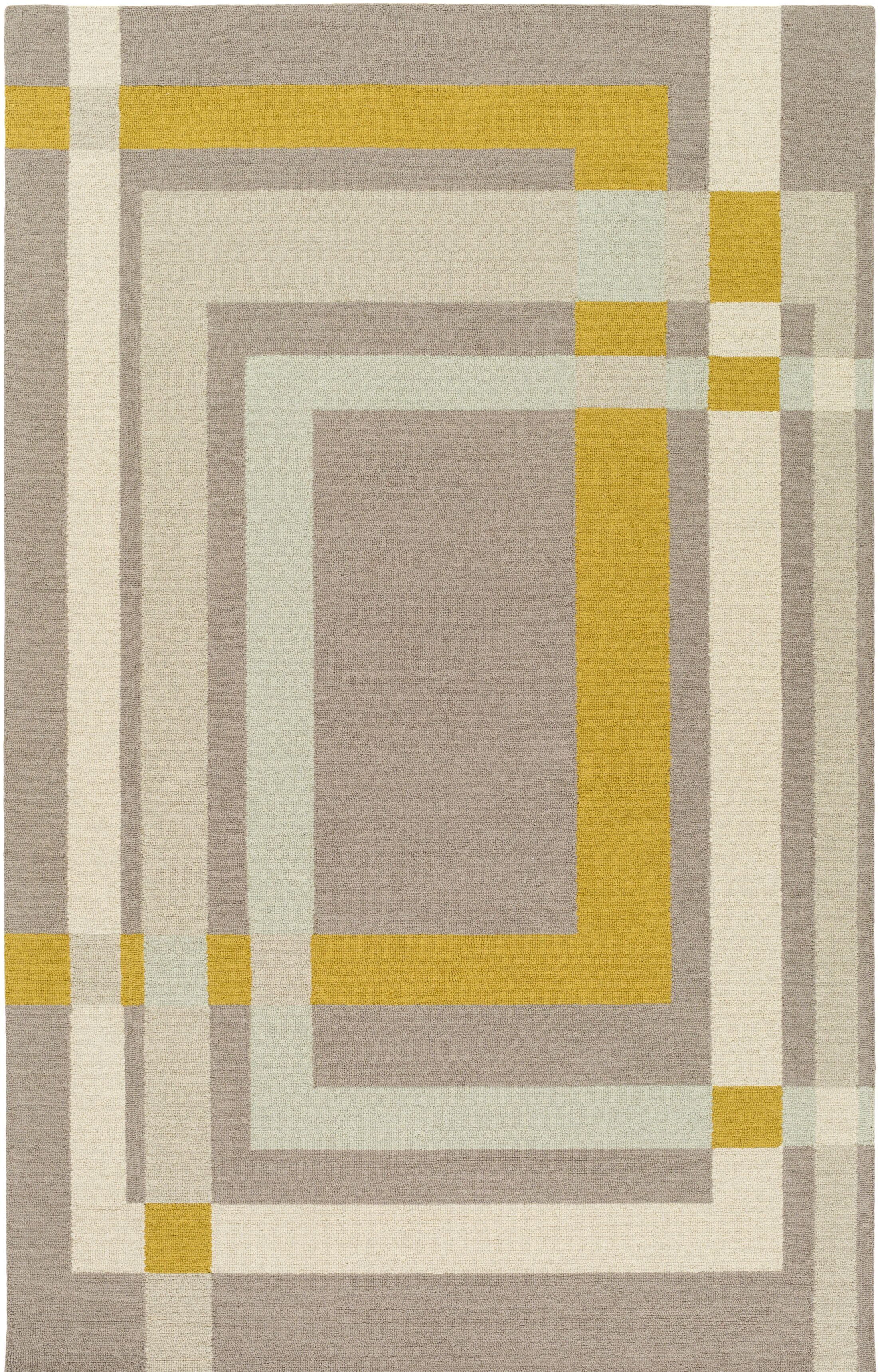 Kismet Color Forms Hand-Tufted Modern Yellow/Cream Area Rug Rug Size: Rectangle 5' x 7'6