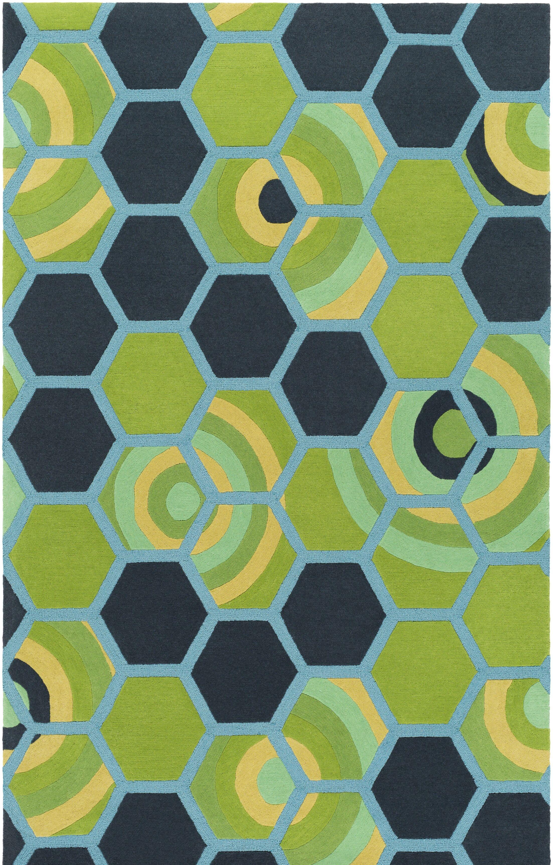 Kismet Honeycomb Hand-Tufted Green/Blue Area Rug Rug Size: Rectangle 5' x 7'6