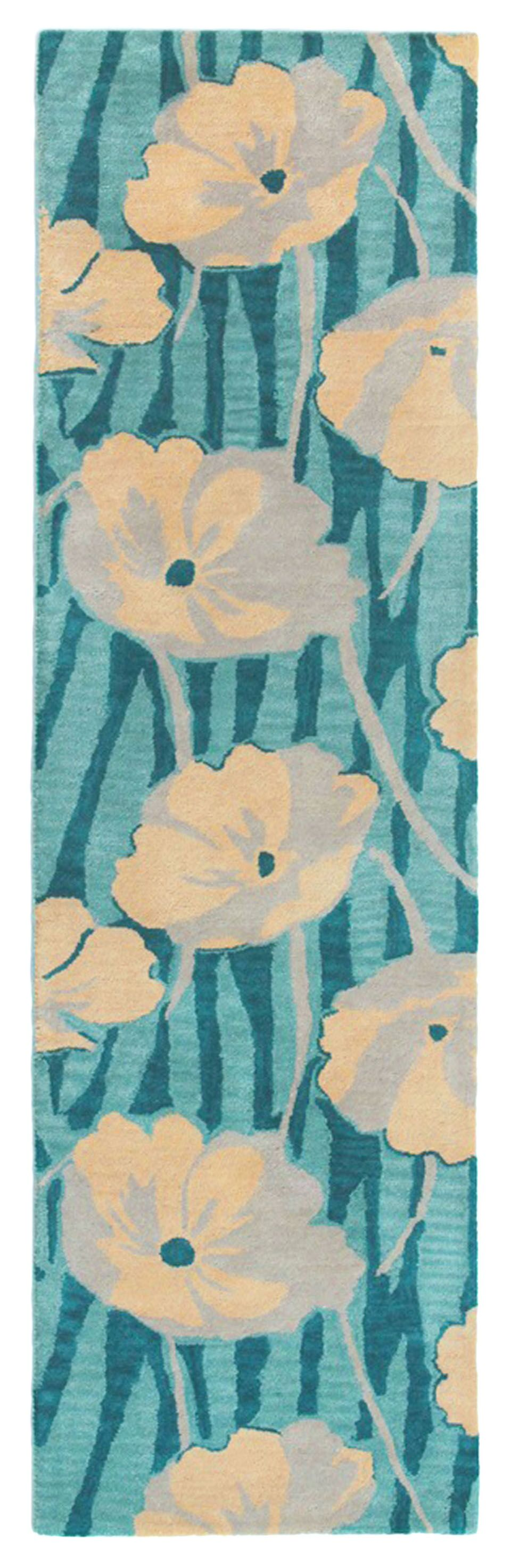 Nouveau Hand-Tufted Green Area Rug Rug Size: Runner 2'3