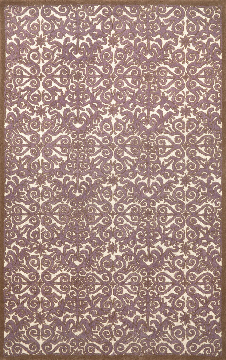 Antigua Lavender Scroll Area Rug Rug Size: 3'6