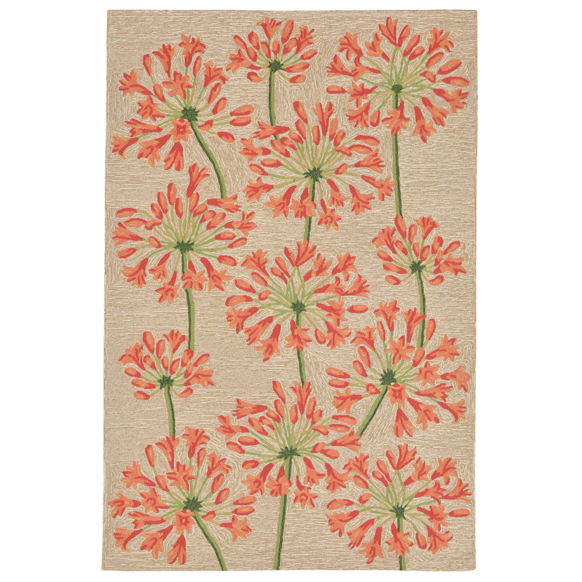 Dazey Lily Hand-Tufted Beige/Red Indoor/Outdoor Area Rug Rug Size: 7'6