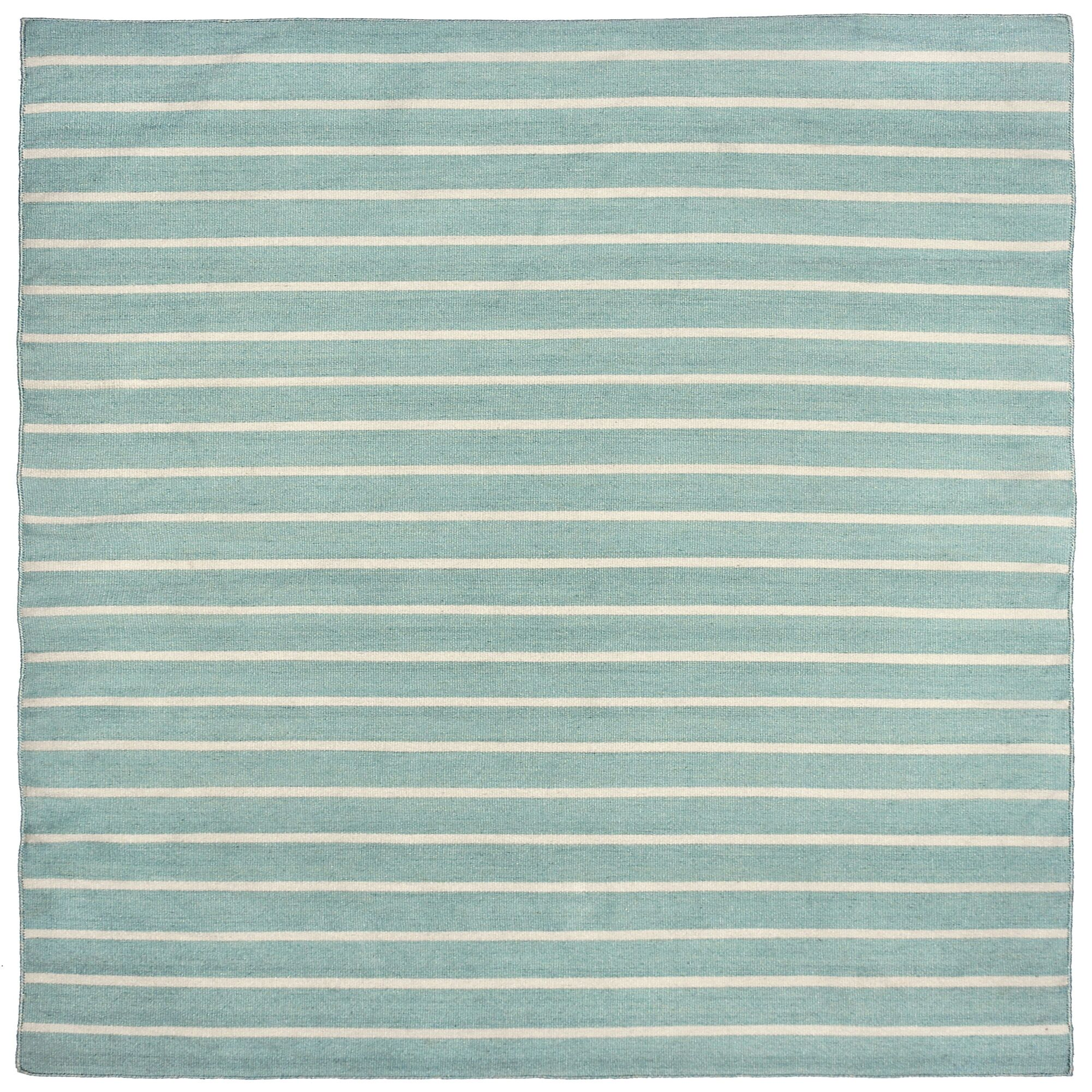 Ranier Pinstripe Hand Woven Blue Indoor/Outdoor Area Rug Rug Size: Square 8'
