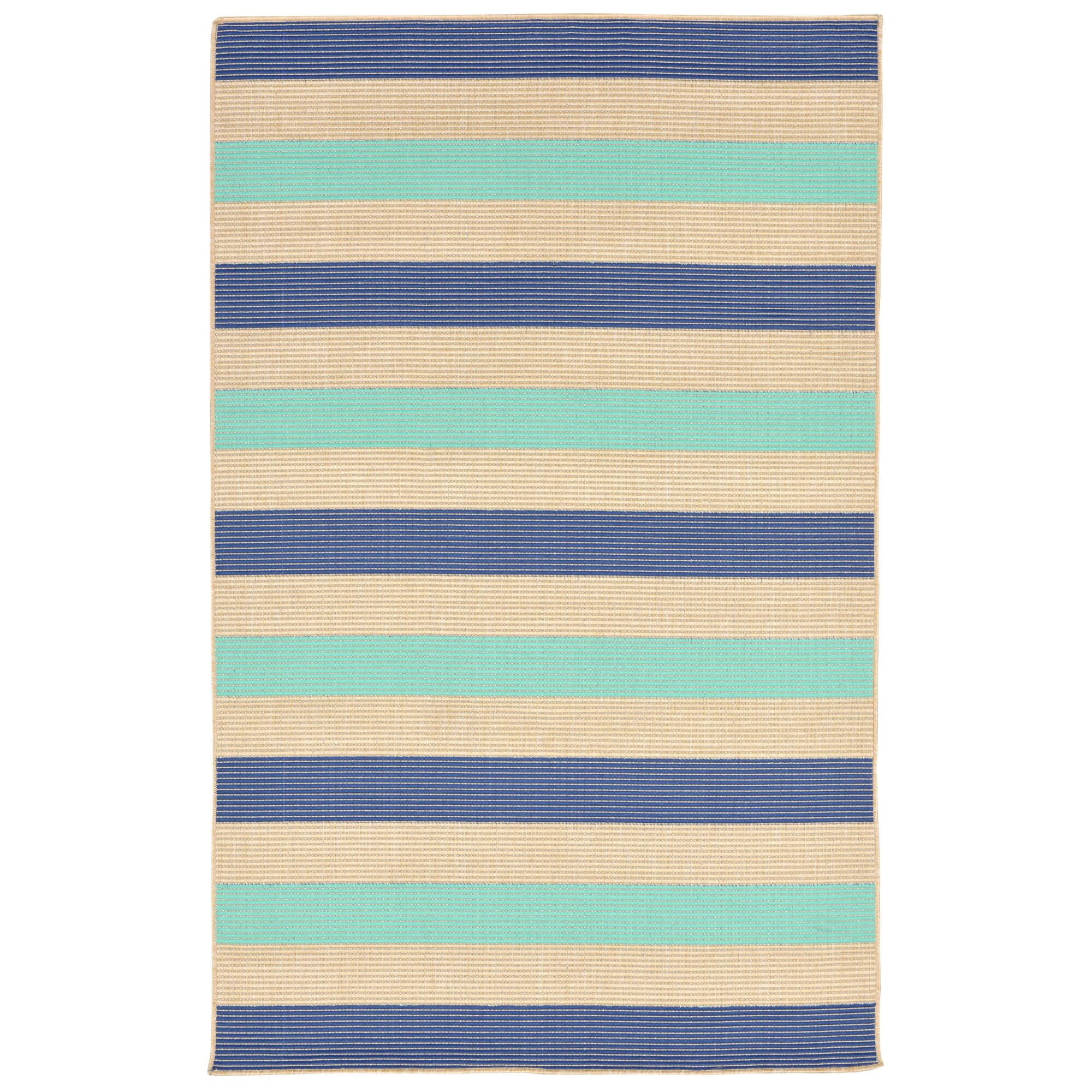 Larana Stripe Beige/Blue Synthetic Indoor/Outdoor Area Rug Rug Size: Rectangle 7'10