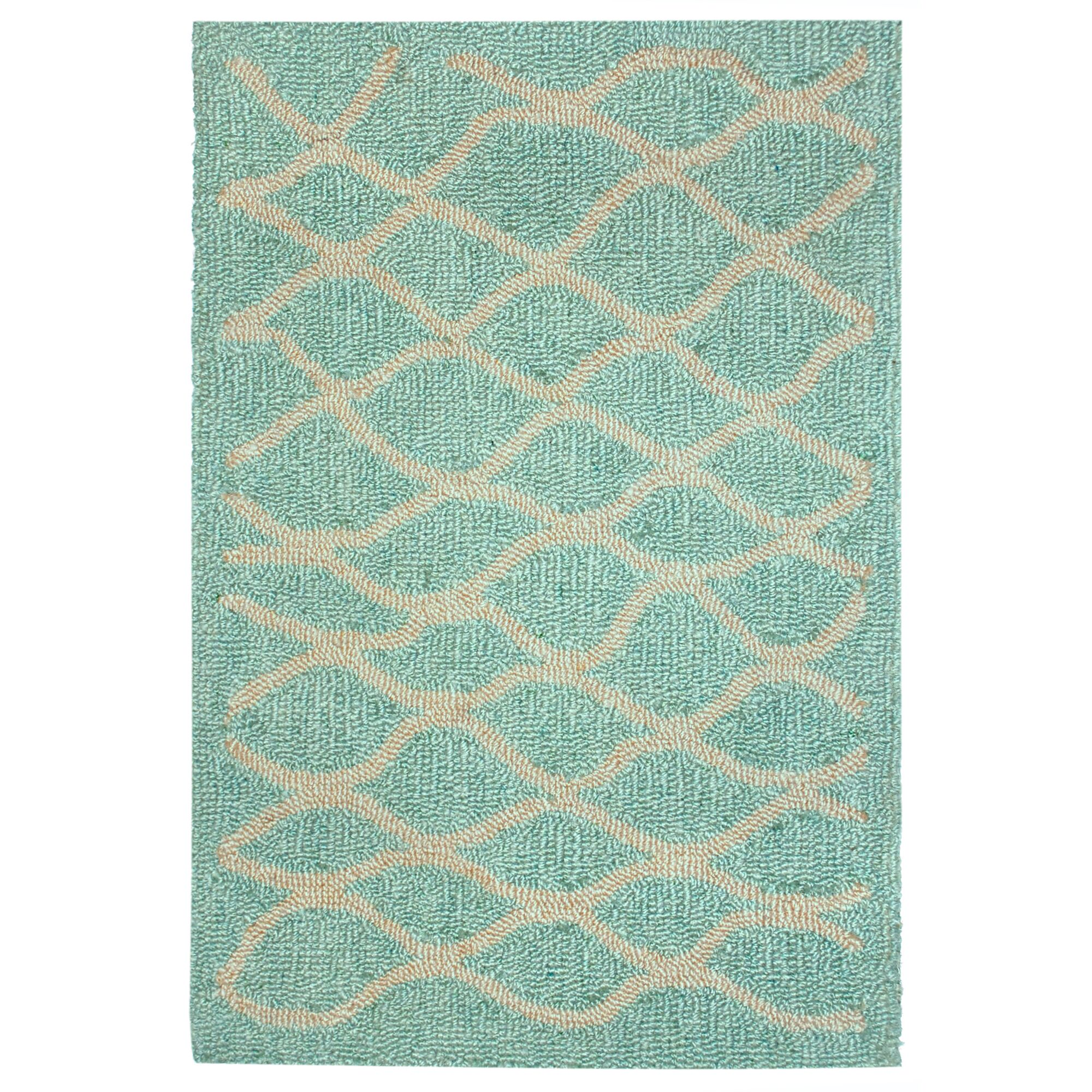Bogard Hand-Tufted Aqua Indoor/Outdoor Area Rug Rug Size: 5' x 7'6