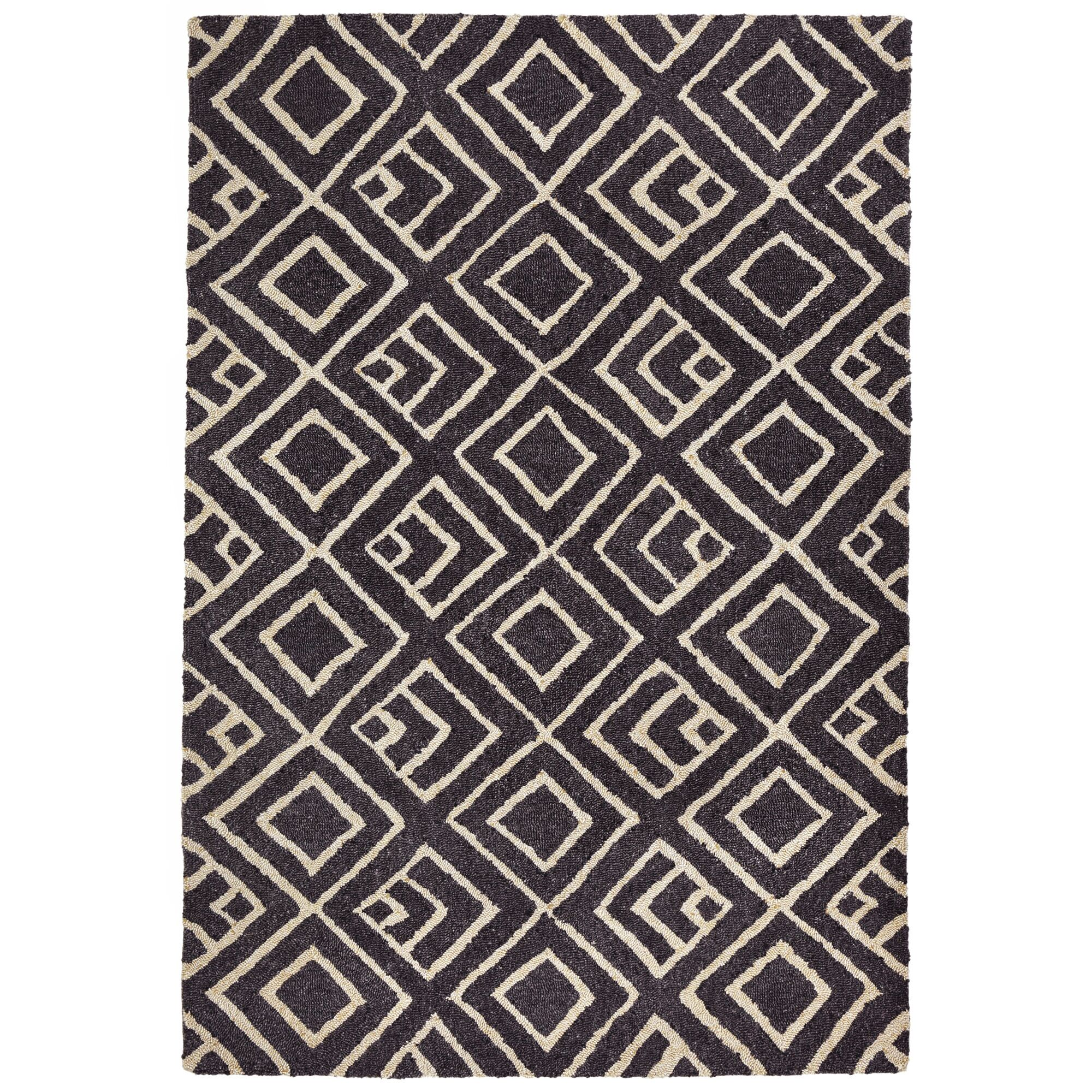 Chamness Hand-Tufted Charcoal/Beige Indoor/Outdoor Area Rug Rug Size: 7'6