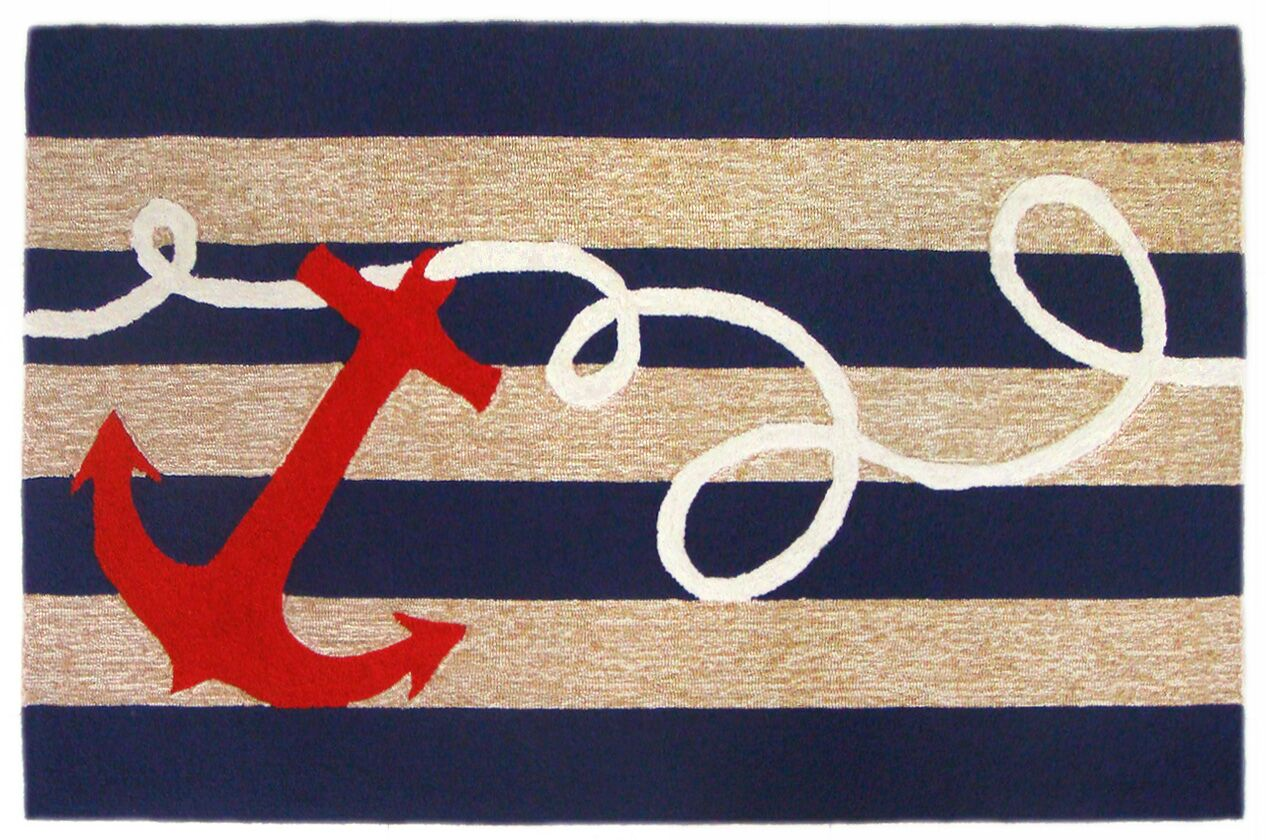 Berau Anchor Hand-Tufted Indoor/Outdoor Area Rug Rug Size: 3'5