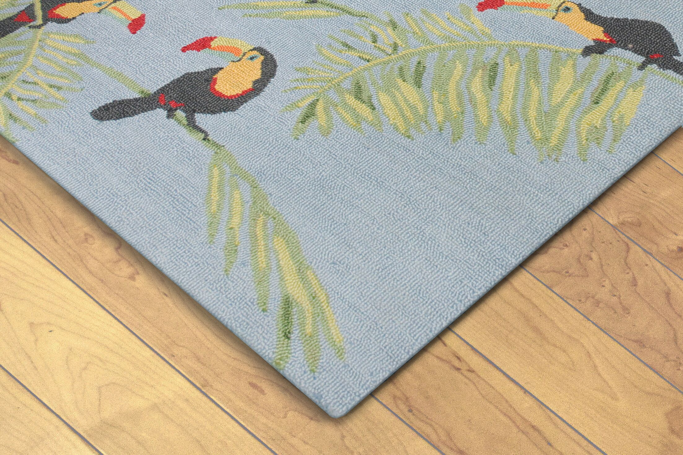 Arida Toucans Hand-Tufted Blue Indoor/Outdoor Area Rug Rug Size: 3'6