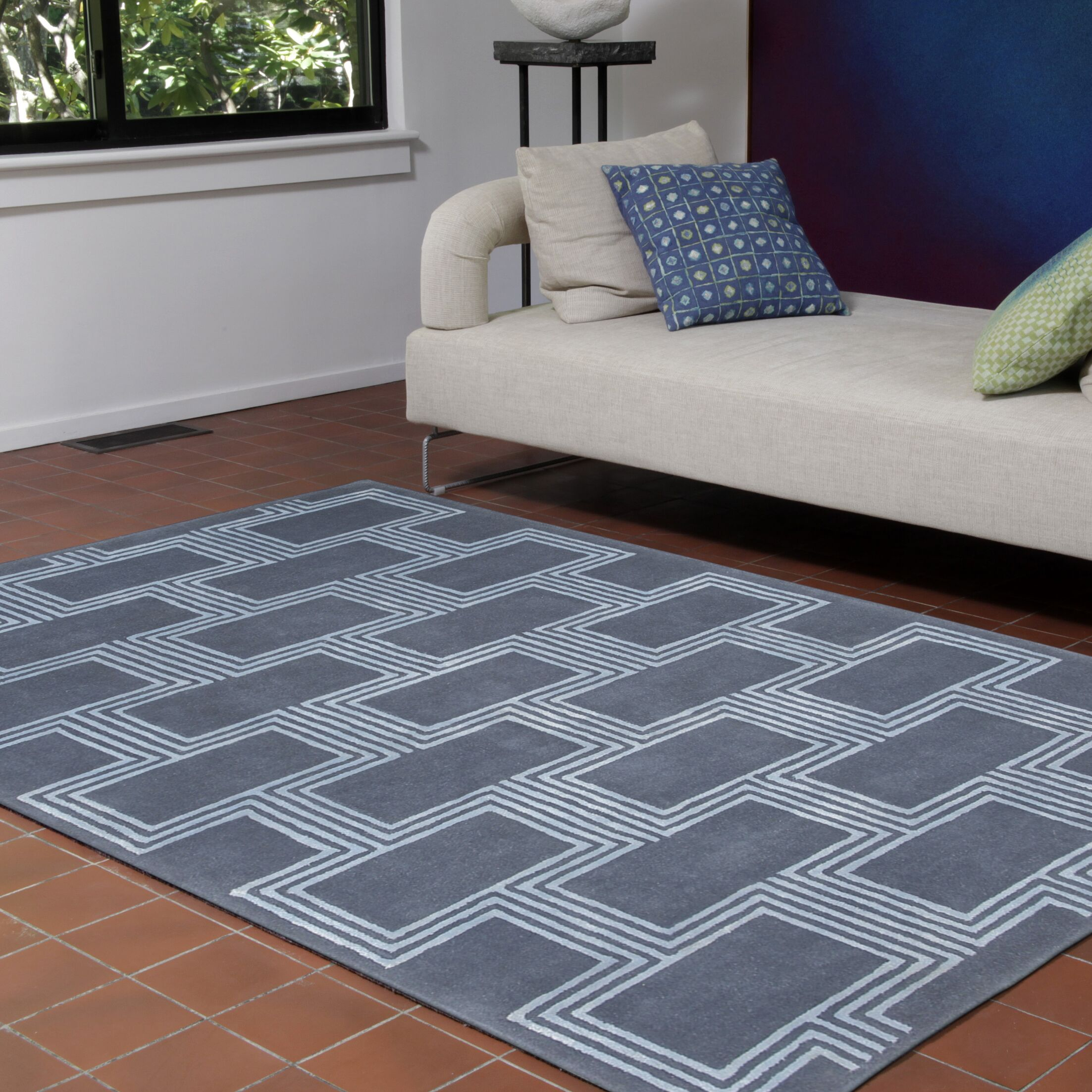Gaydos Boxes Hand-Tufted Blue Indoor Area Rug Rug Size: 9' x 12'