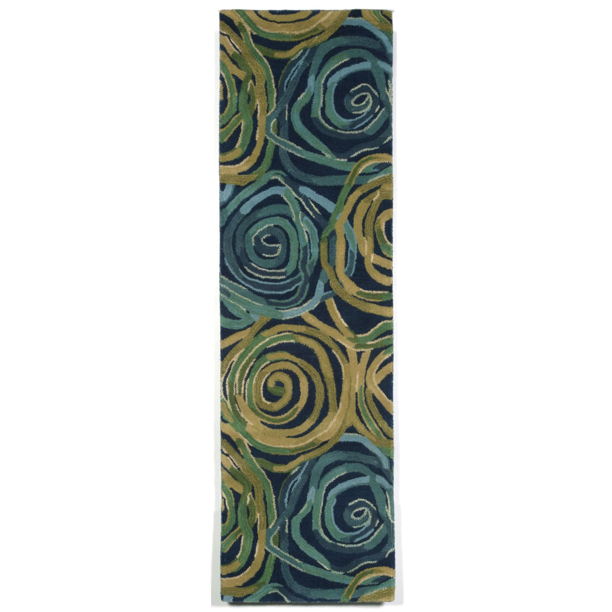 Terrill Rose Navy/Yellow Area Rug Rug Size: Runner 2'3