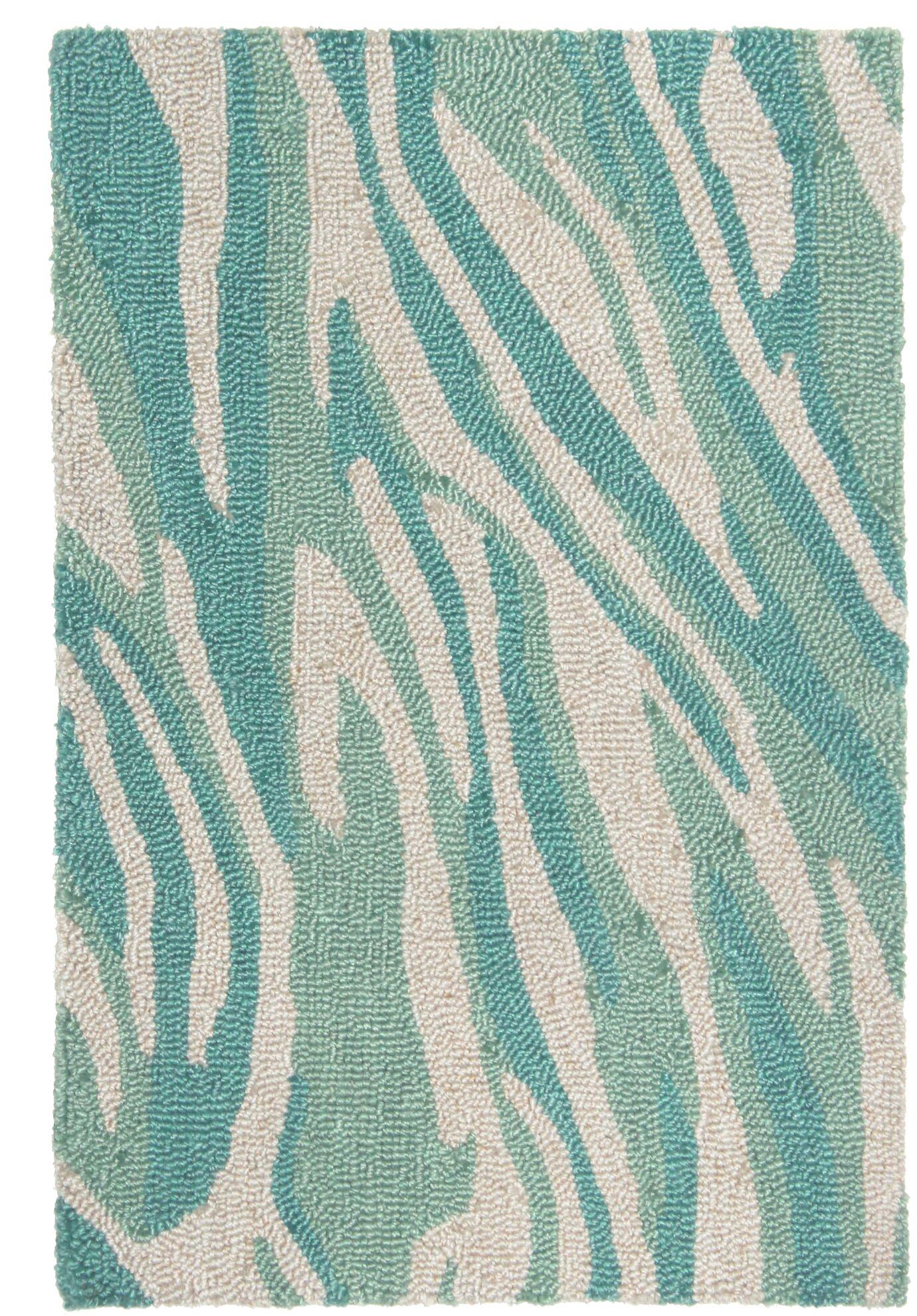 Nancee Marble Hand-Tufted Teal/Beige Area Rug Rug Size: Rectangle 3'6