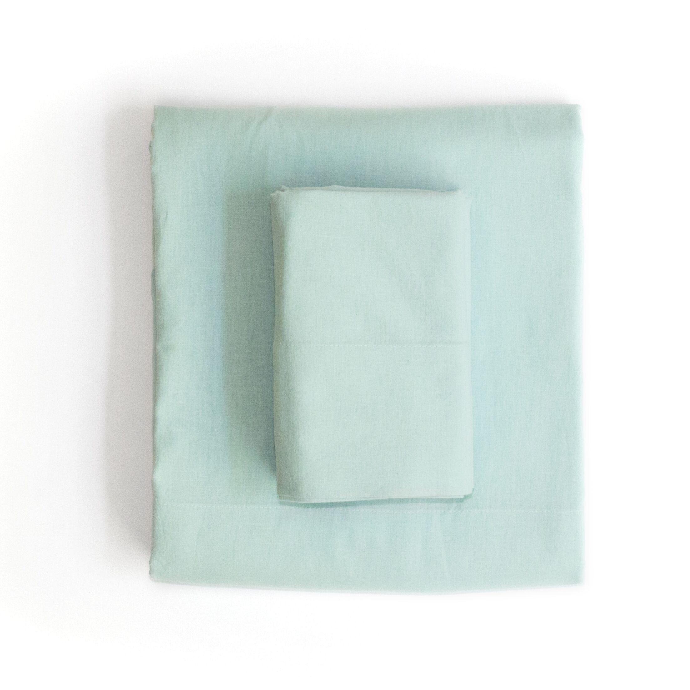 Linen & Cotton Sheet Set Size: Queen, Color: Light Green