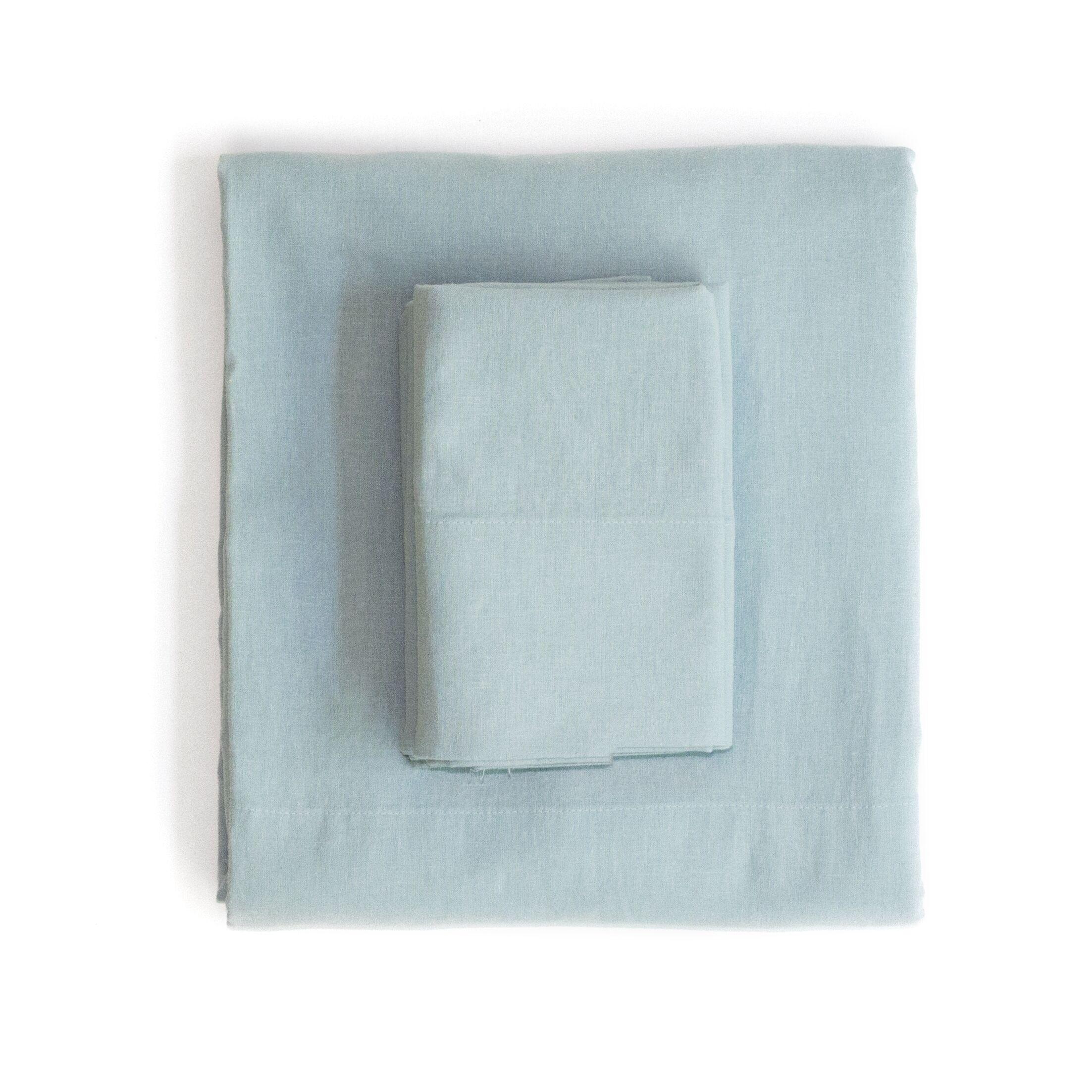 Linen & Cotton Sheet Set Size: California King, Color: Light Blue