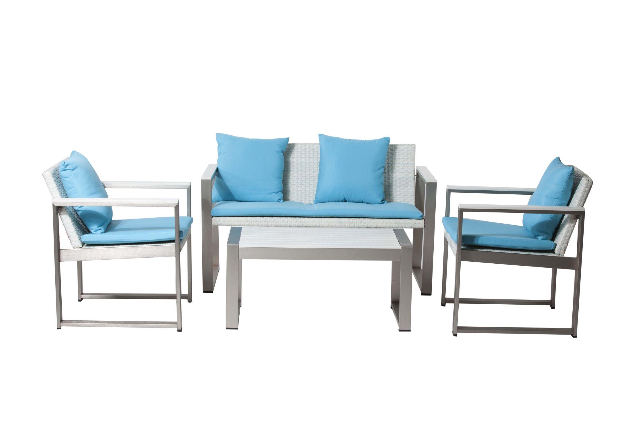 Windsor Rise 4 Piece Sofa Set with Cushions Fabric: White / Turquoise