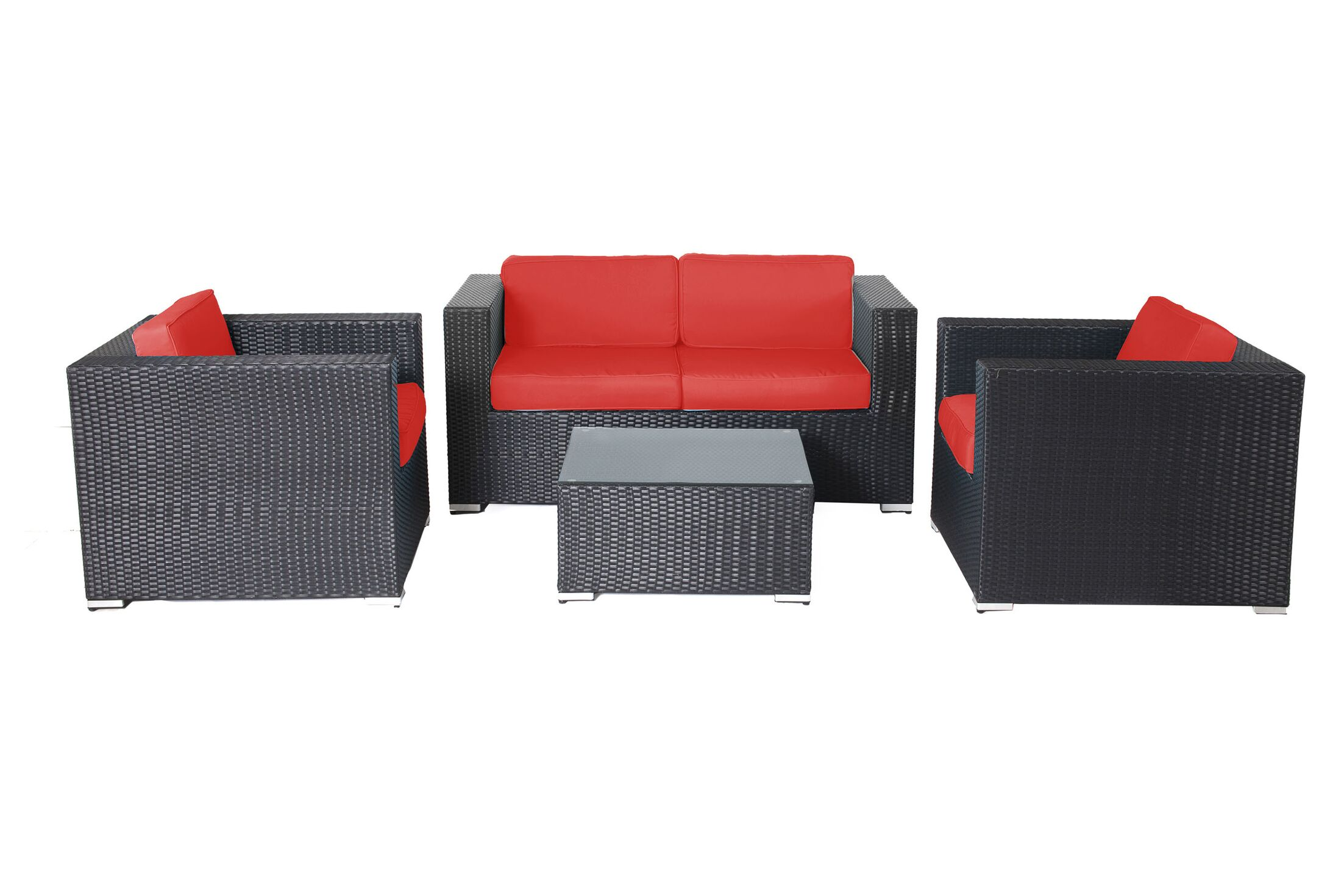 Hibner 4 Piece Rattan Sofa Set with Cushions Fabric: Red