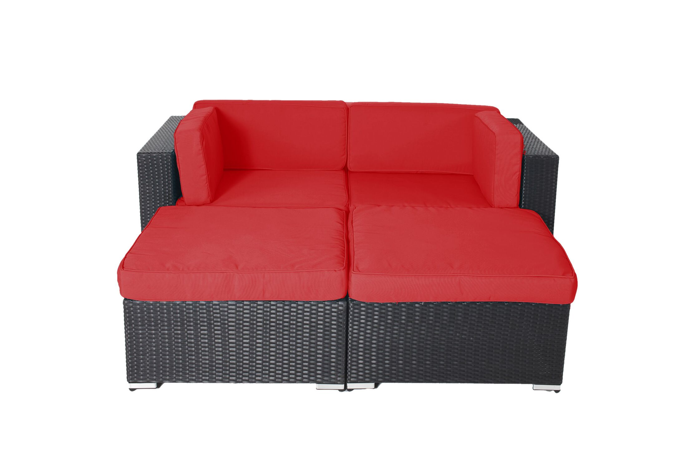 Hibner 4 Piece Rattan Conversation Set with Cushions Fabric: Red