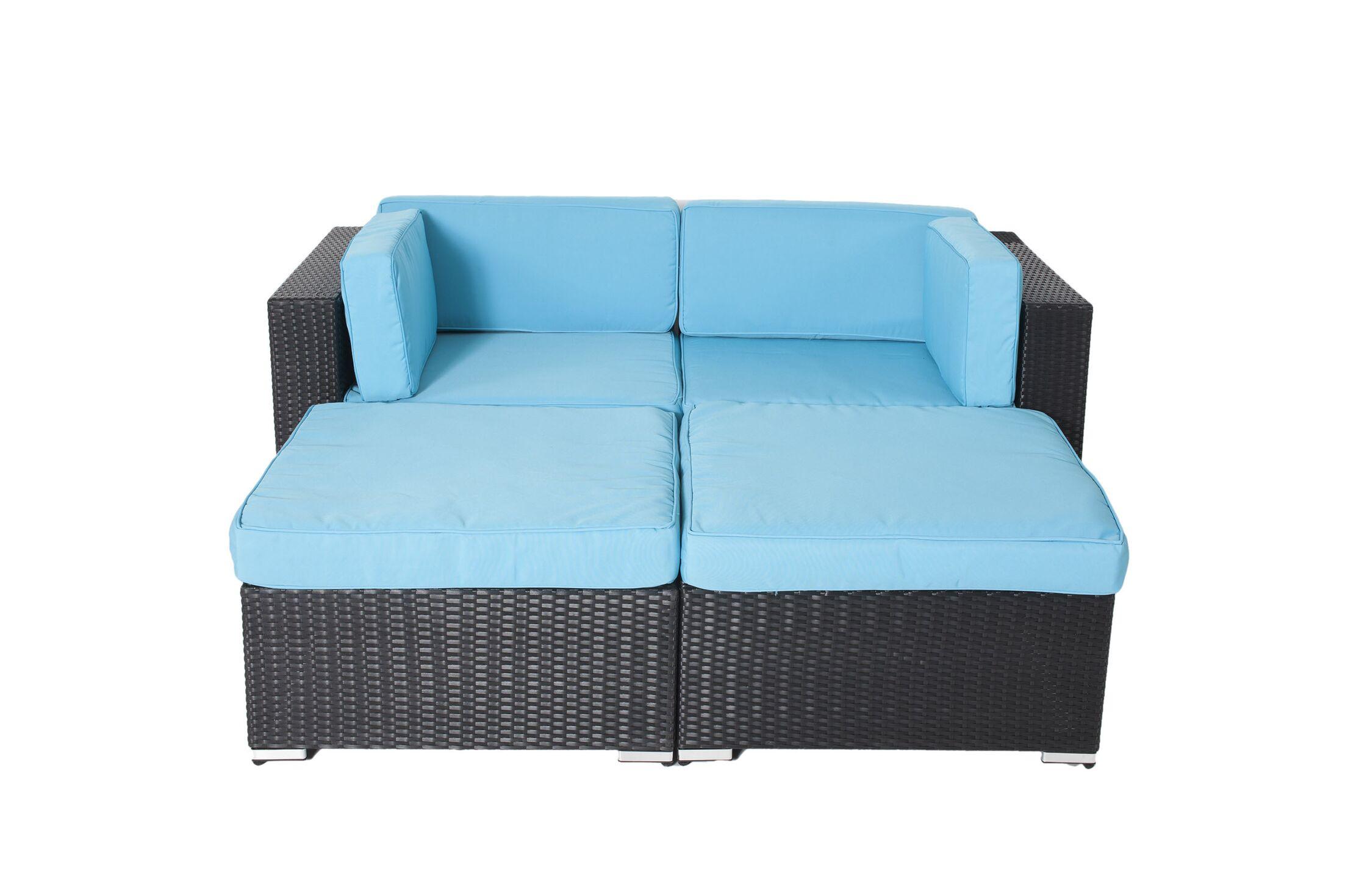 Hibner 4 Piece Rattan Conversation Set with Cushions Fabric: Turuoise