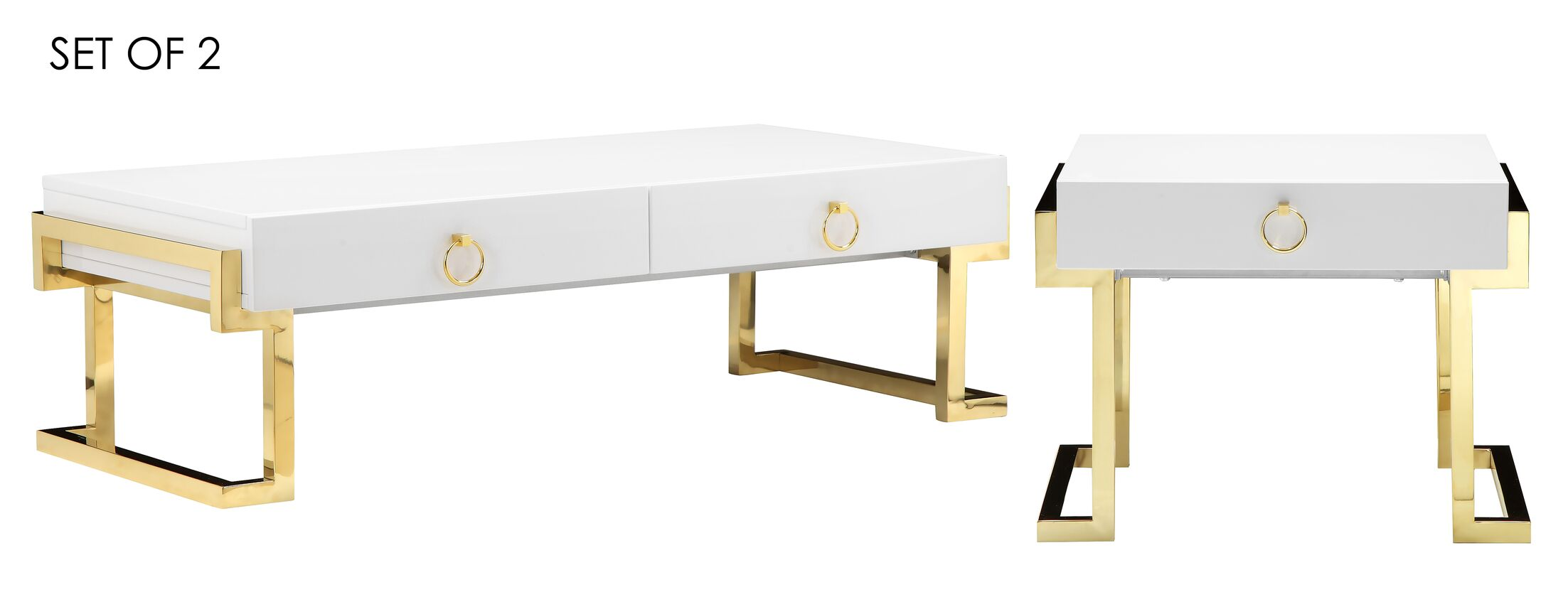 Parkdale 2 Piece Coffee Table Set Color: White/Gold
