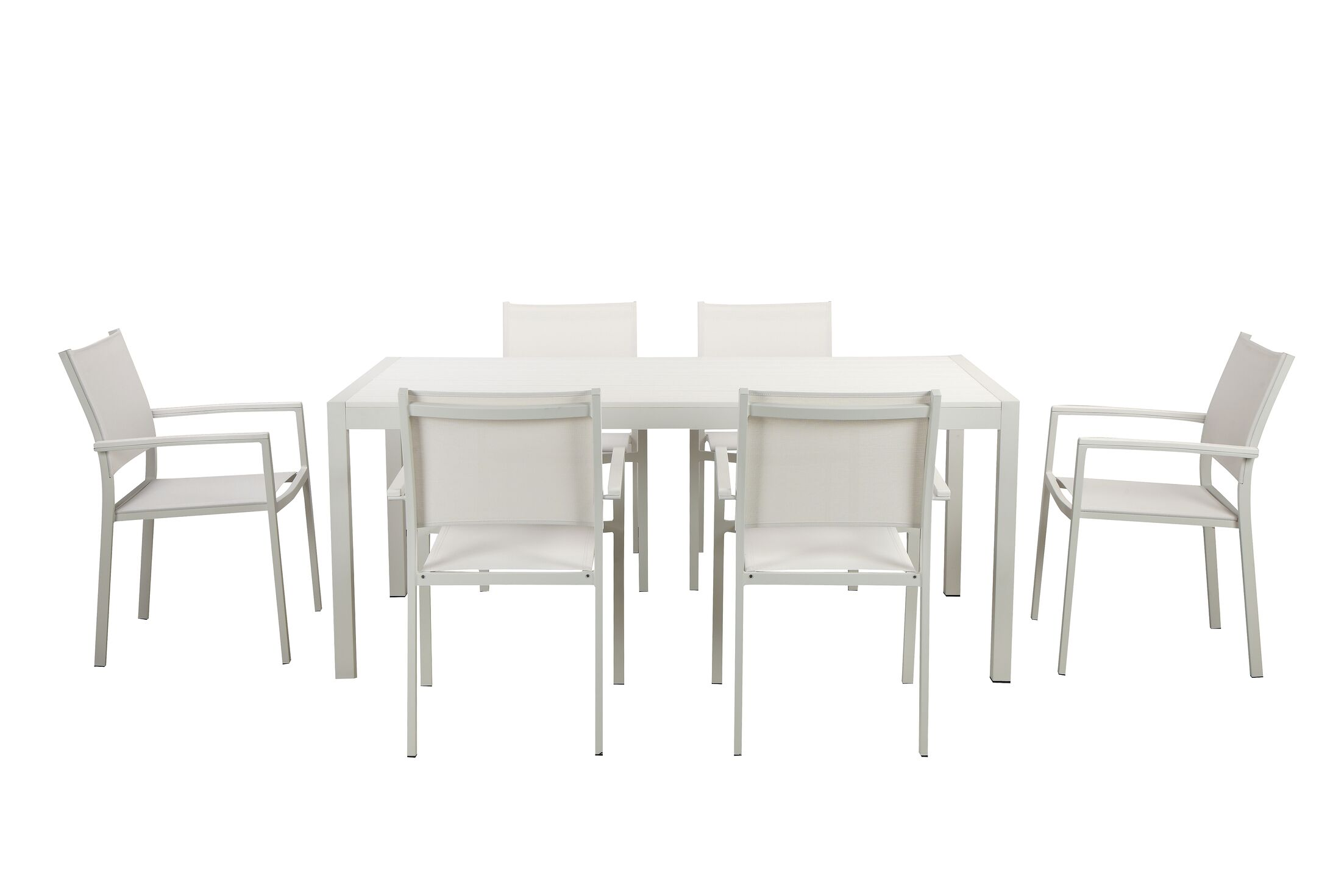 Alaia 7 Piece Dining Set Top Color: White, Leg Finish: White Anodized Aluminum
