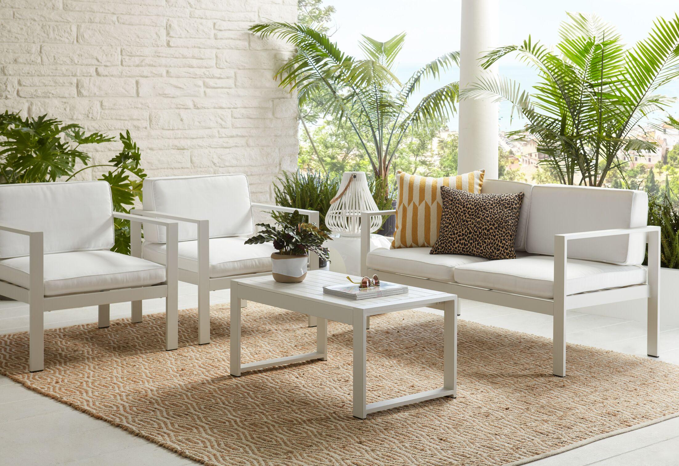 Gomer 4 Piece Sofa Set Color: White