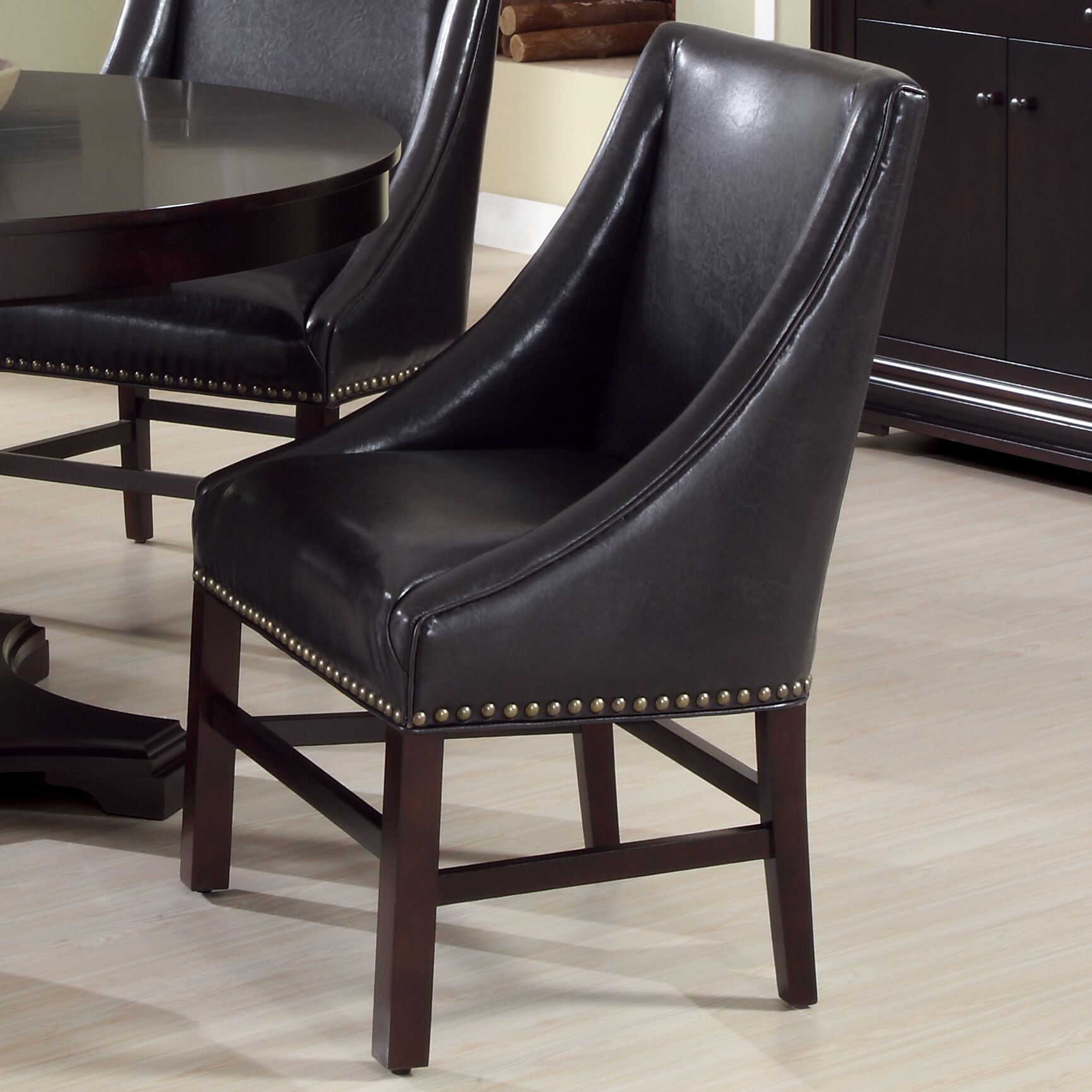 Arm Chair Upholstery Color: Bond Leather - Dark Brown