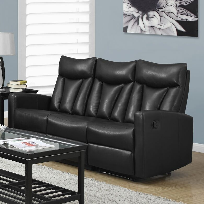 Reclining Sofa Upholstery: Black