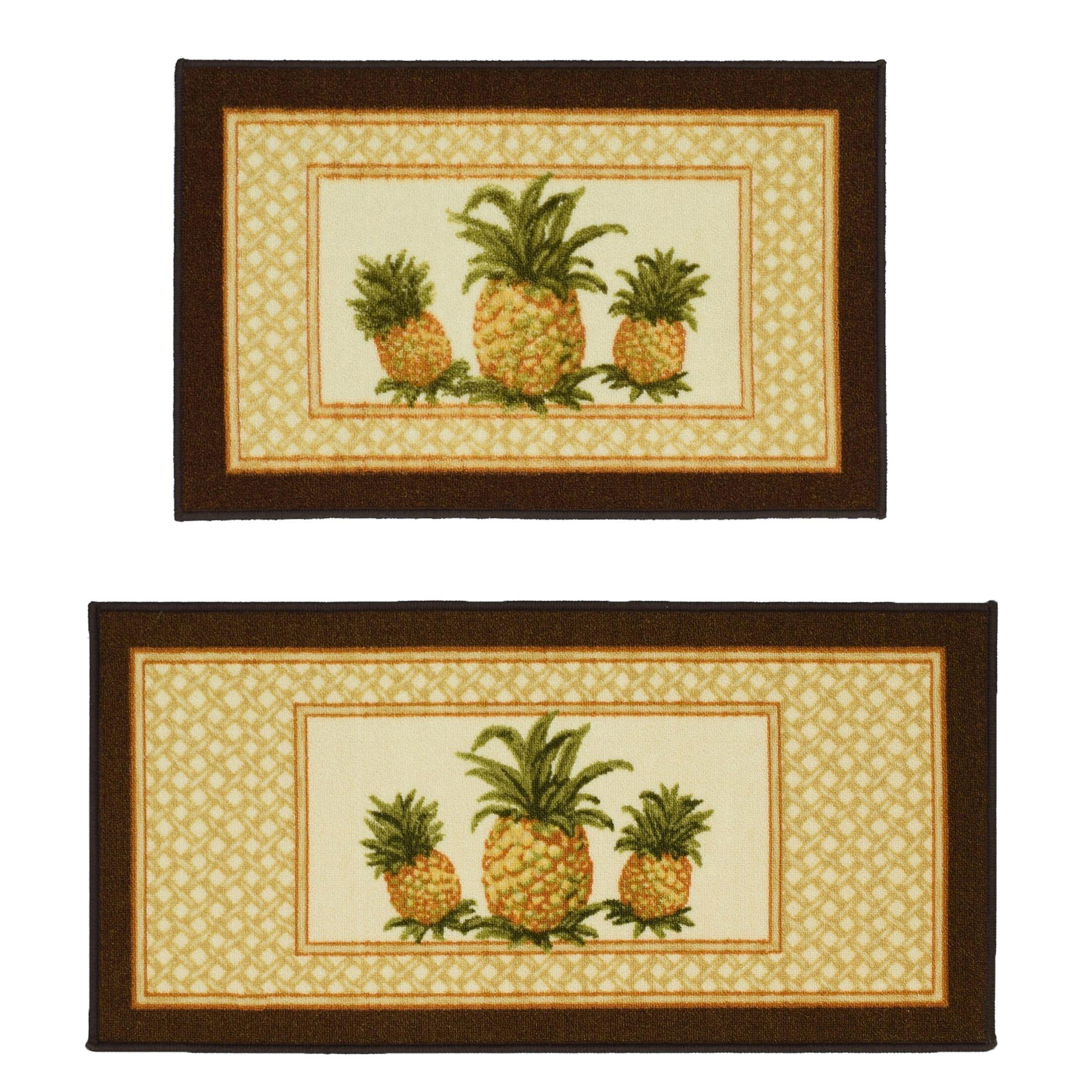 Pineapple 2 Piece Novelty Rug Set