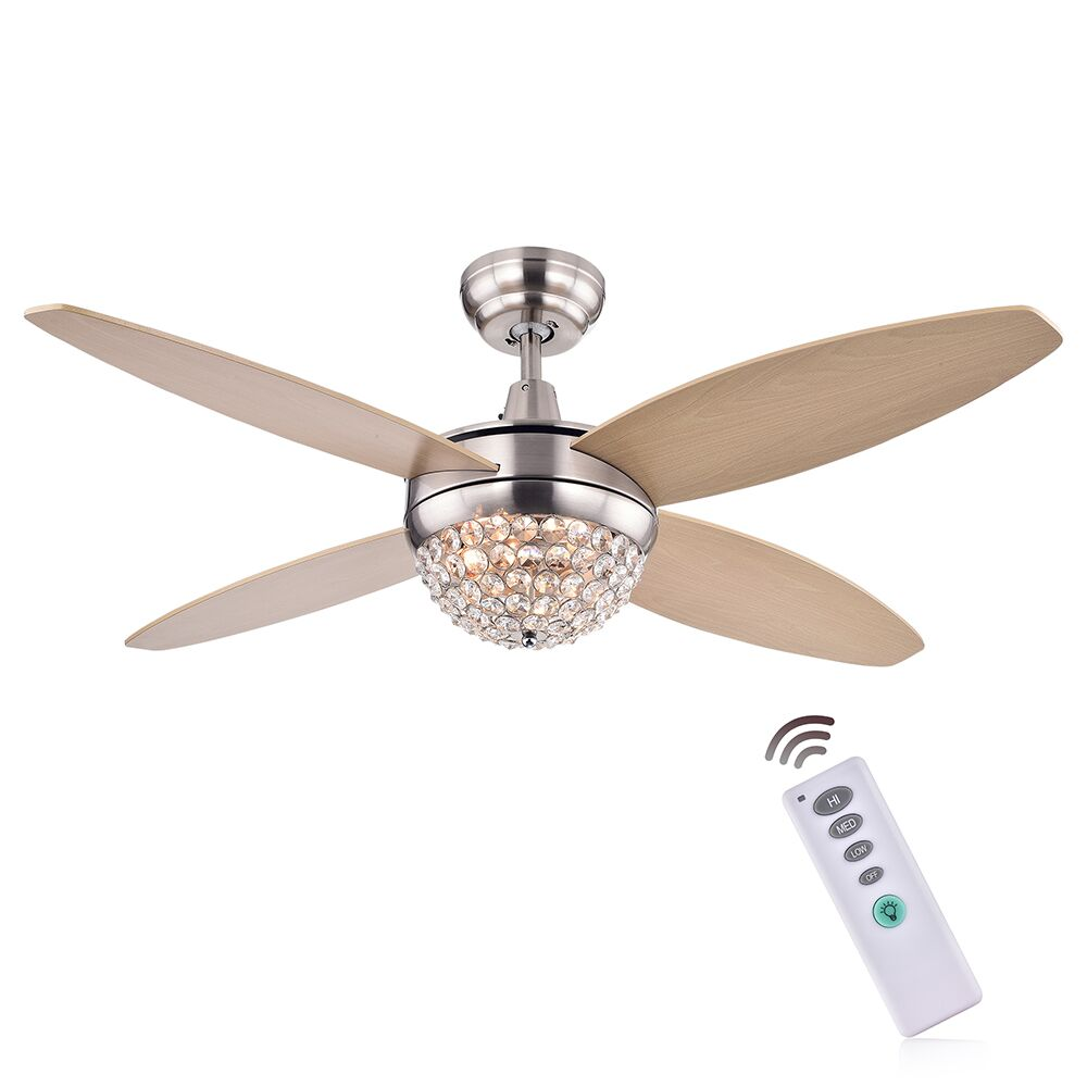 Balavis Wood Crystal 4 Blade Ceiling Fan