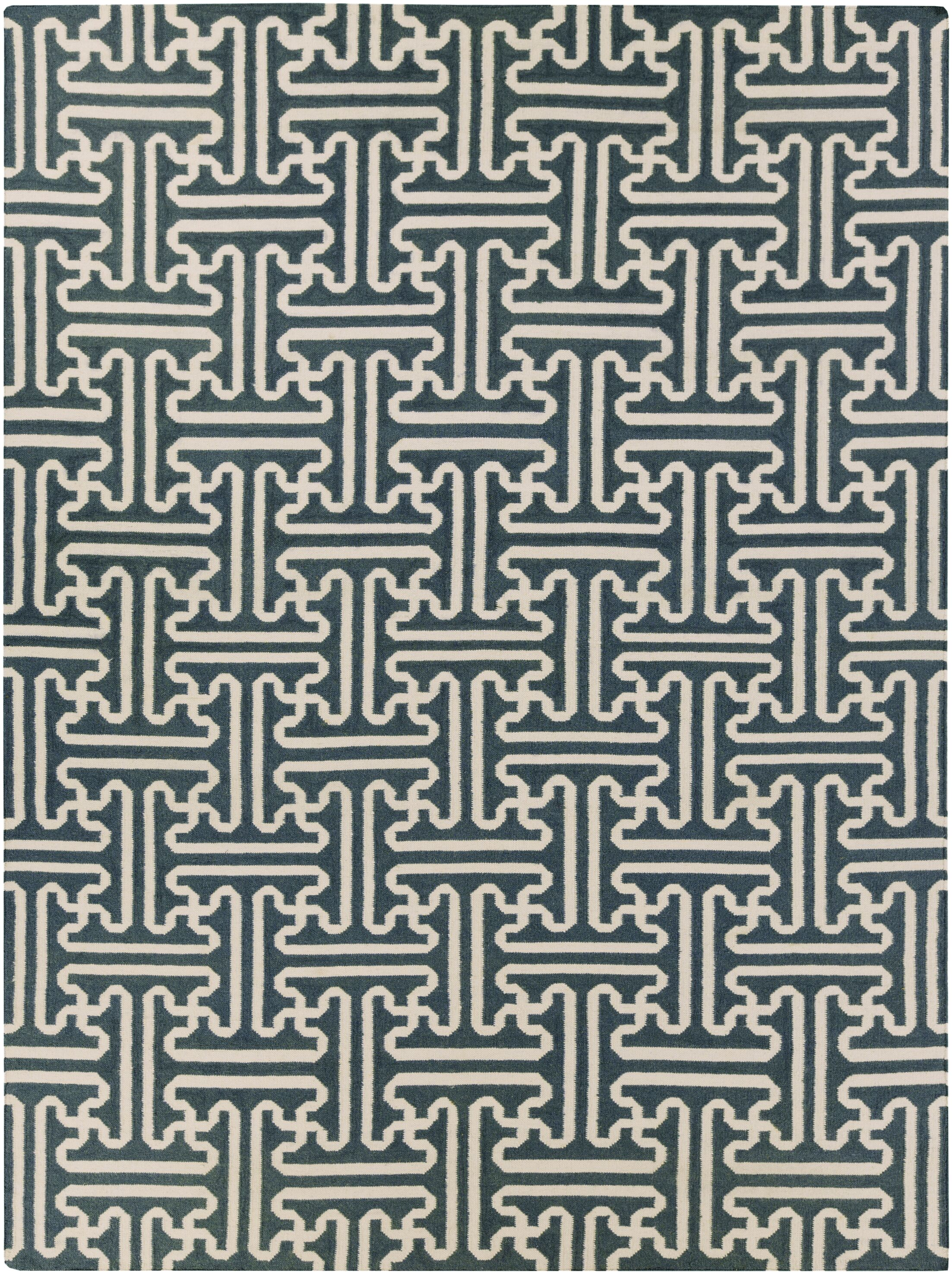 Archive Ivory/Teal Geometric Area Rug