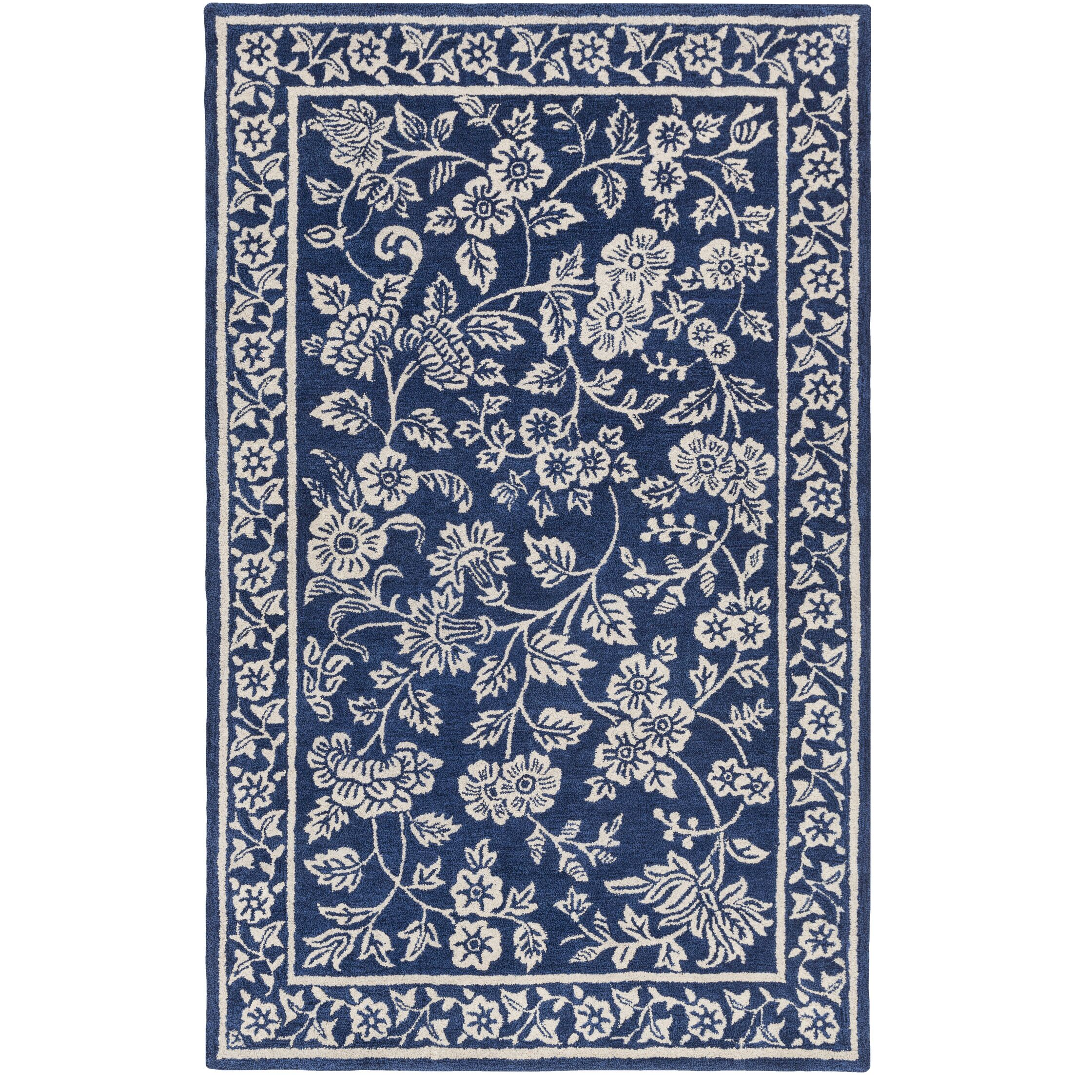 Smithsonian Hand-Tufted Blue/Black Area Rug Rug Size: Rectangle 8' x 11'