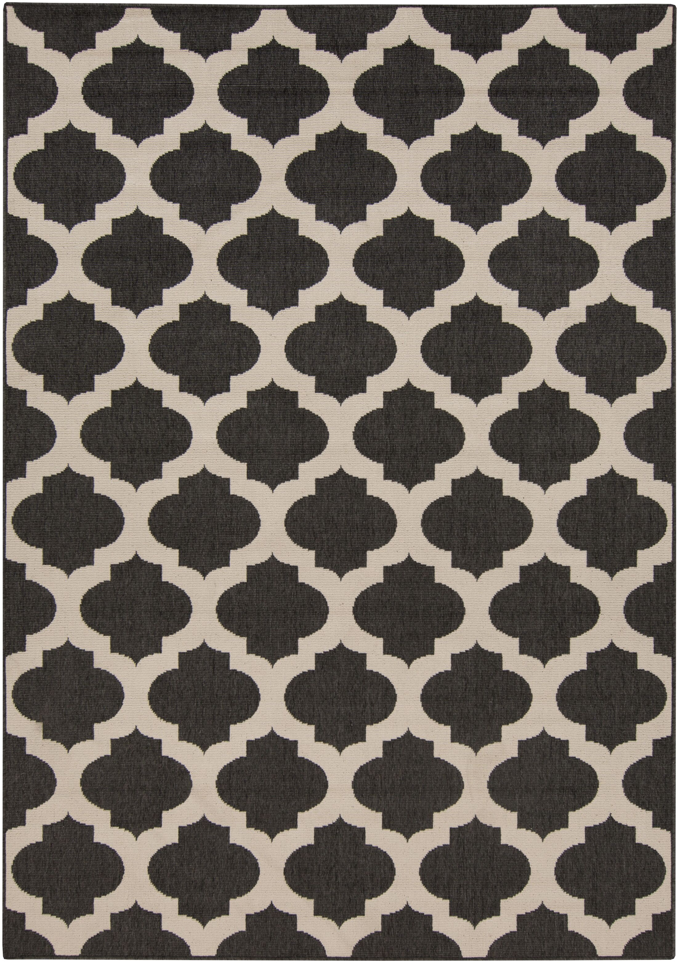 Modern Trellis Hand-Woven Ink Area Rug Rug Size: Round 5'3
